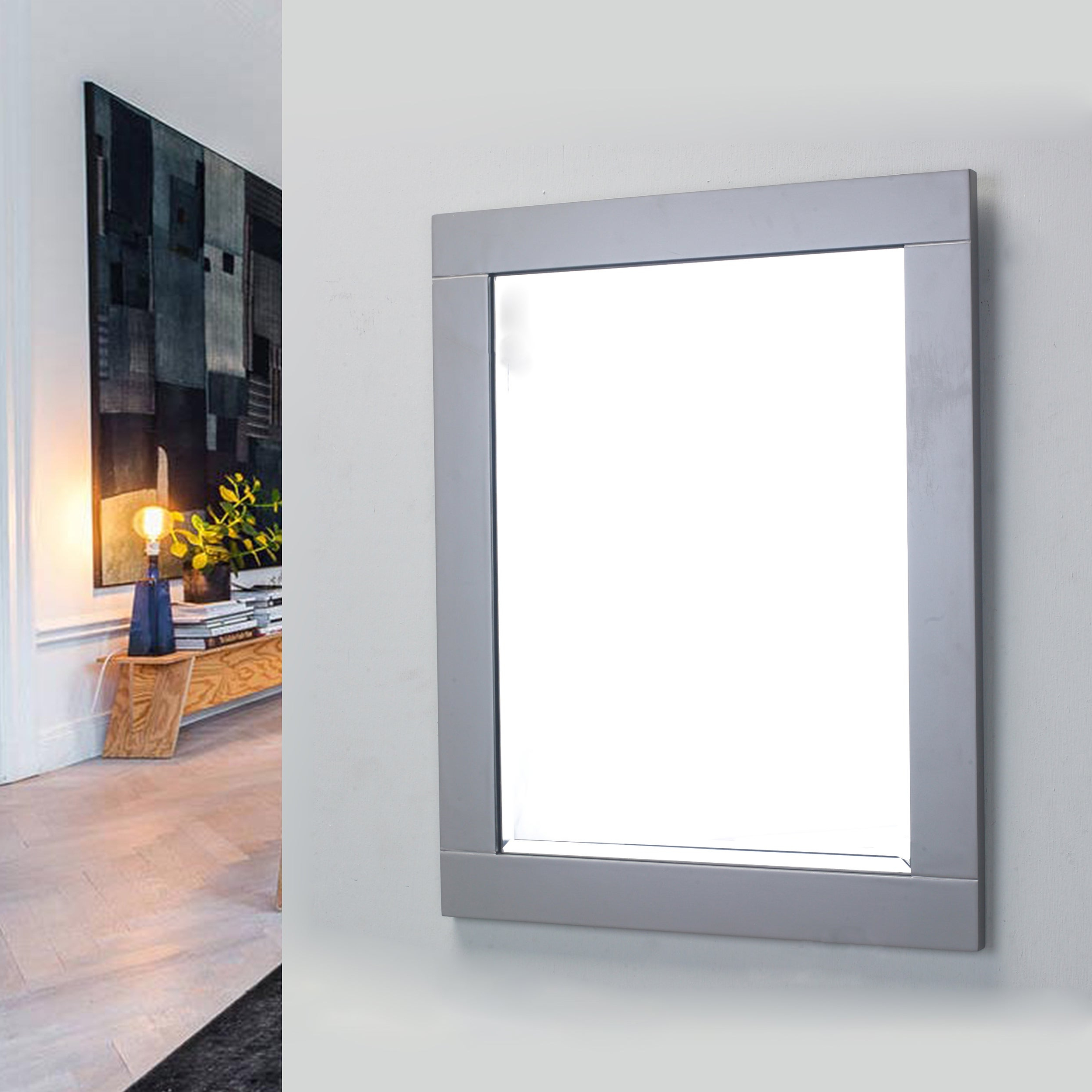 Most Current Framed Wall Mirrors Regarding Eviva Aberdeen 24 Inch Grey Framed Bathroom Wall Mirror (View 10 of 20)