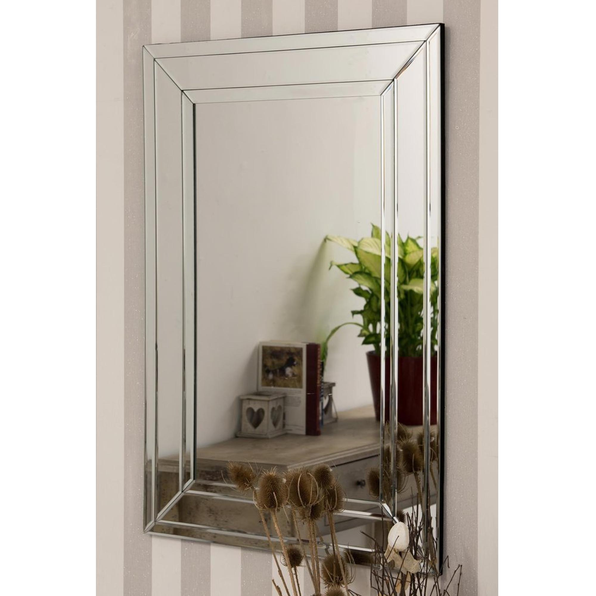 Most Current Frameless Large Wall Mirrors Within Detailed Venetian Frameless Large Wall Mirror (View 4 of 20)