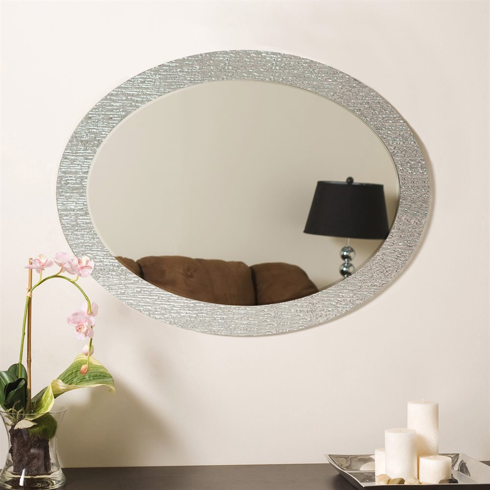 Most Current Frameless Molten Wall Mirrors For Decor Wonderland Molten Oval Bathroom Mirror (View 15 of 20)