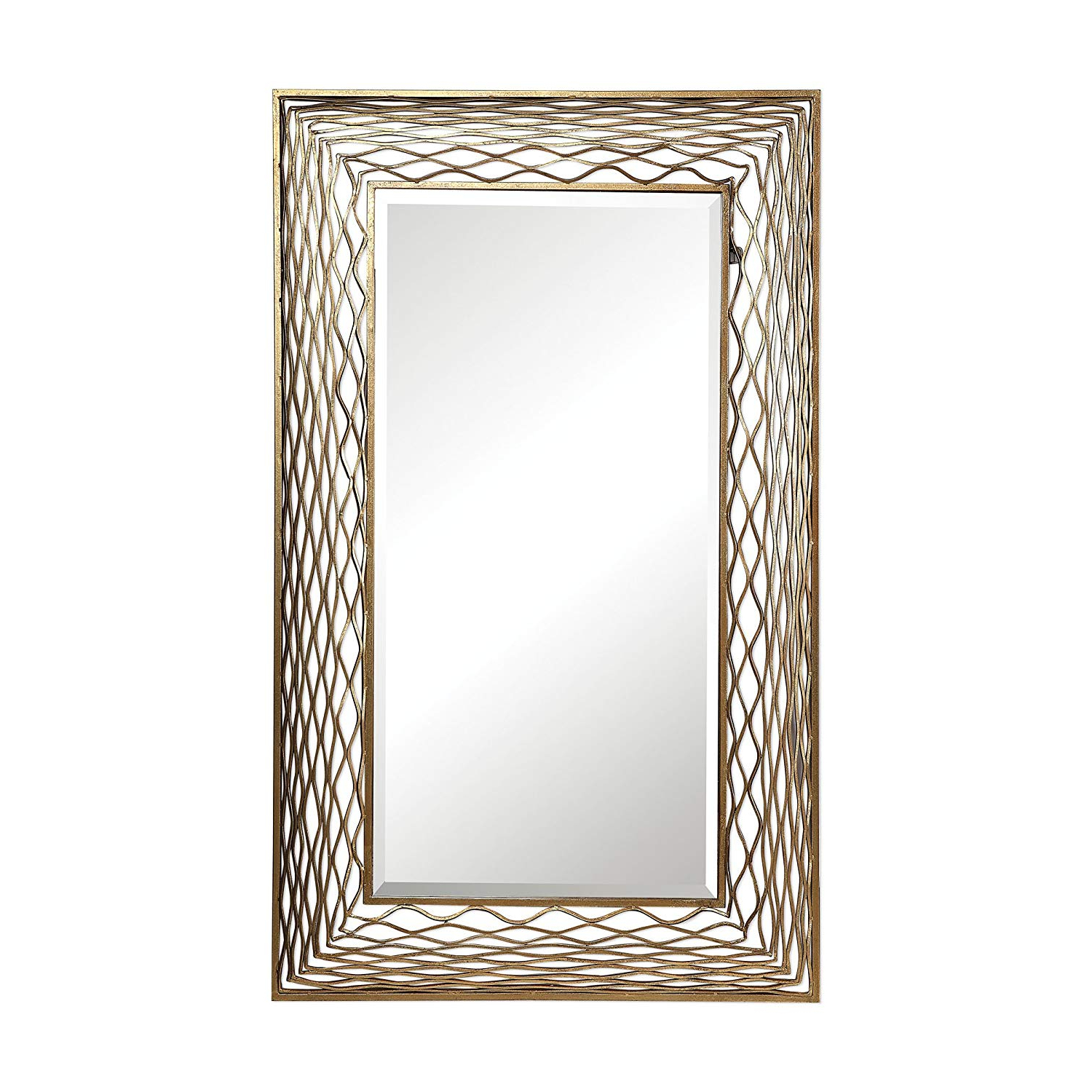 Most Current Full Length Wavy Wall Mirrors For Amazon: My Swanky Home Oversize Wavy Gold Metal Wall (View 15 of 20)