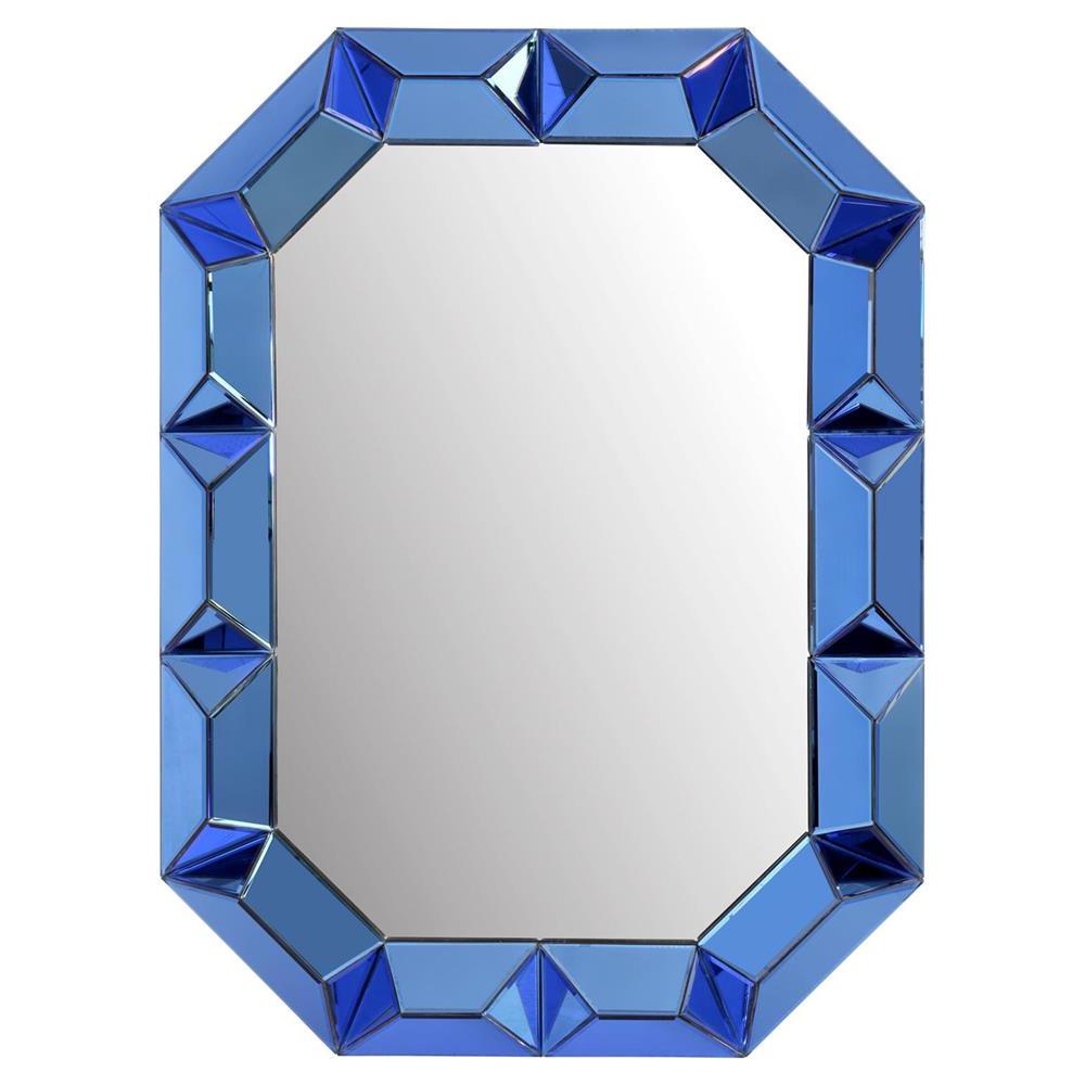 Most Current Gene Hollywood Regency Blue Framed Wall Mirror Regarding Blue Framed Wall Mirrors (View 5 of 20)