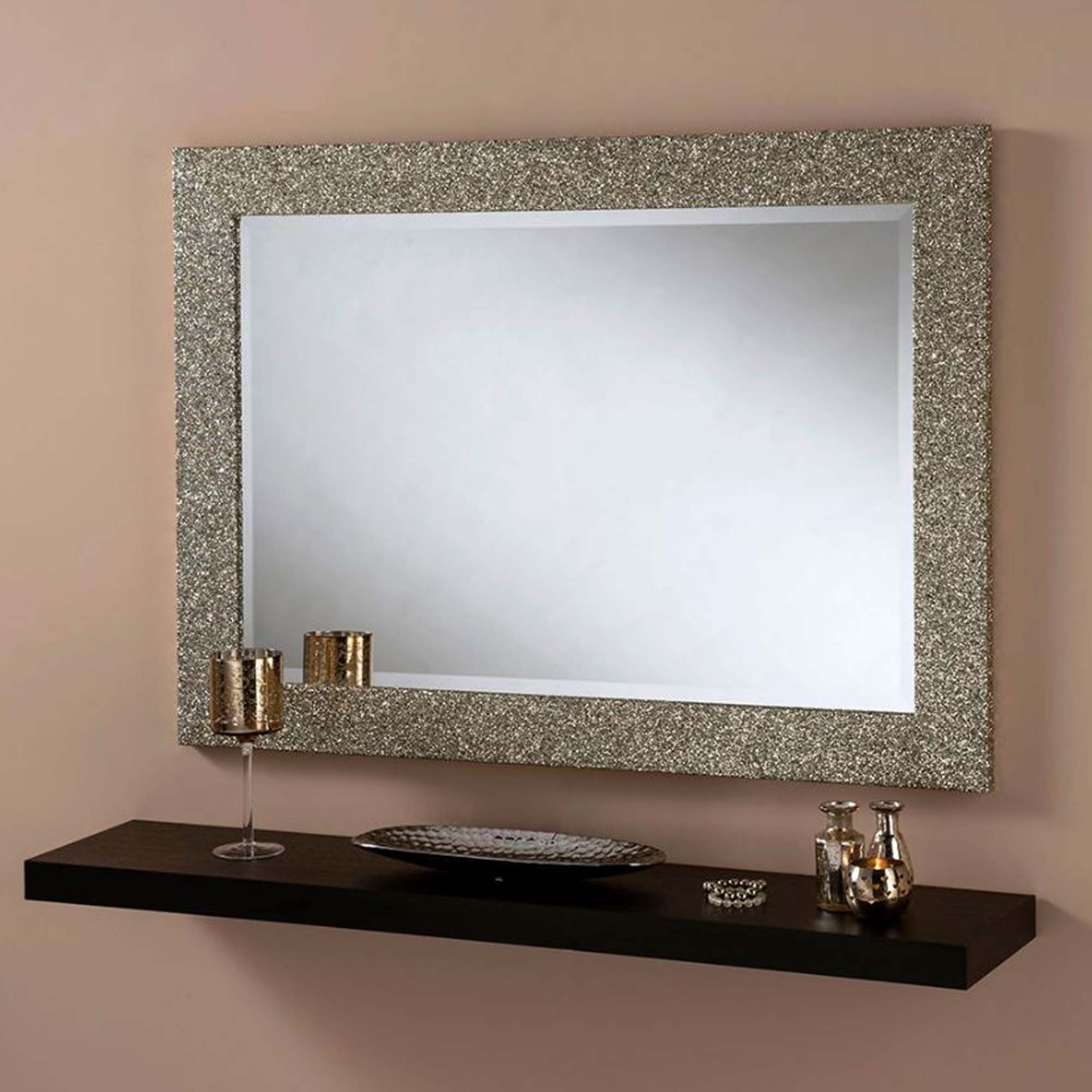 Most Current Glitter Wall Mirrors Intended For Champagne Glitter Rectangular Wall Mirror (View 4 of 20)