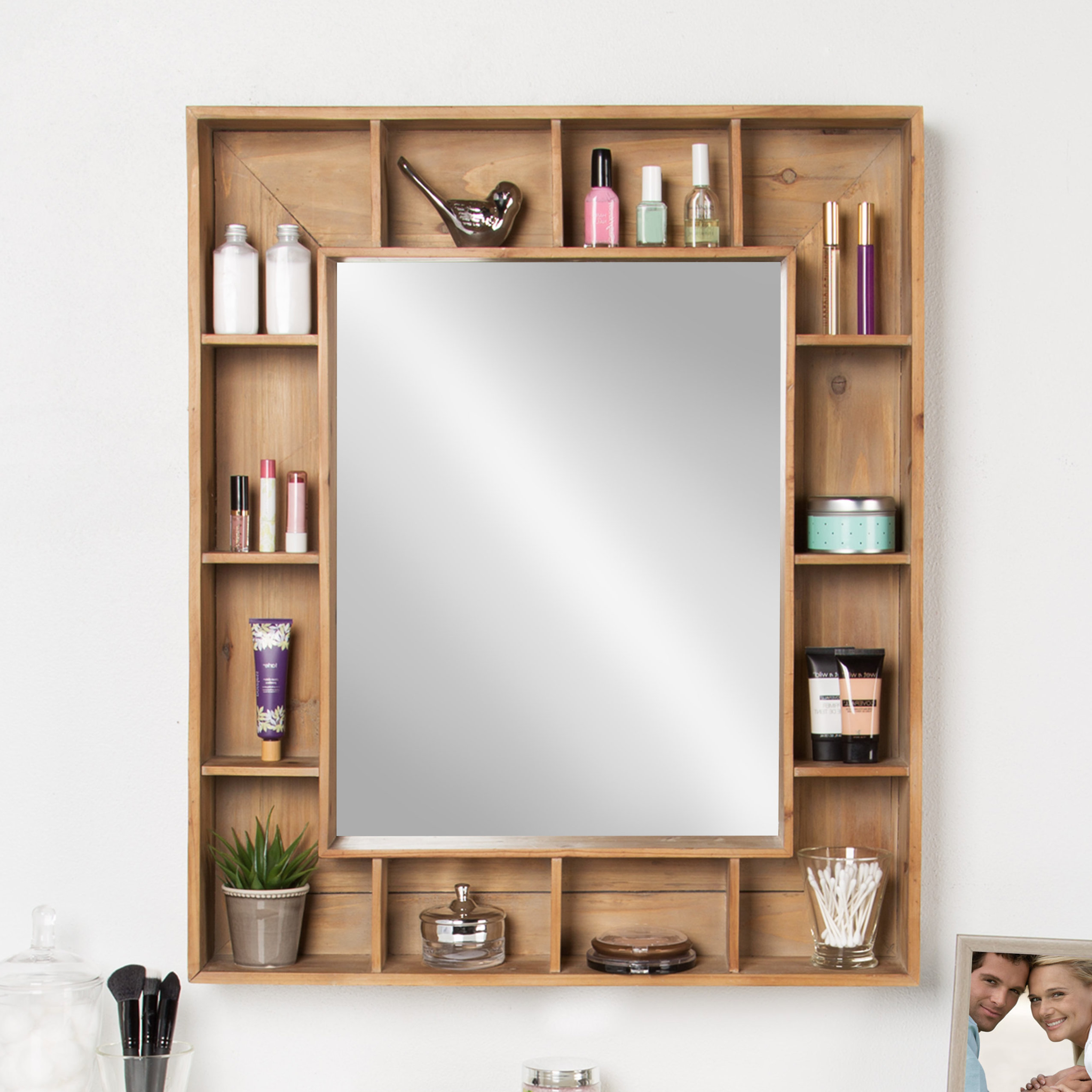 Most Current Glynis Wild West Accent Mirrors Within Swanage Rustic Wood Cubby Framed Wall Storage Accent Mirror (View 18 of 20)