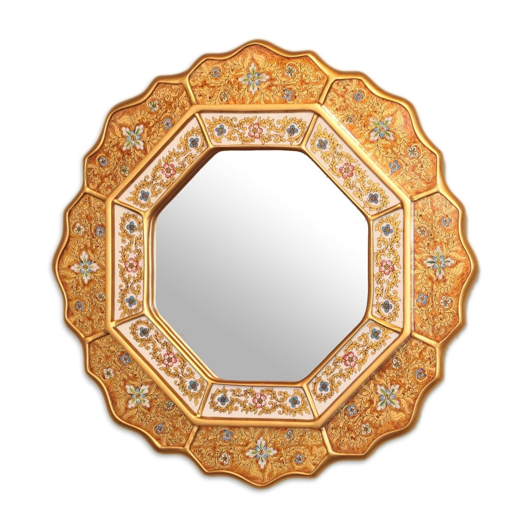 Most Current Golden Star Artisan Handmade Decor Hand Painted Floral Gold Blue Red Accent Hall Bedroom Bathroom Glass Wall Mirror (peru) For Hand Painted Wall Mirrors (View 20 of 20)