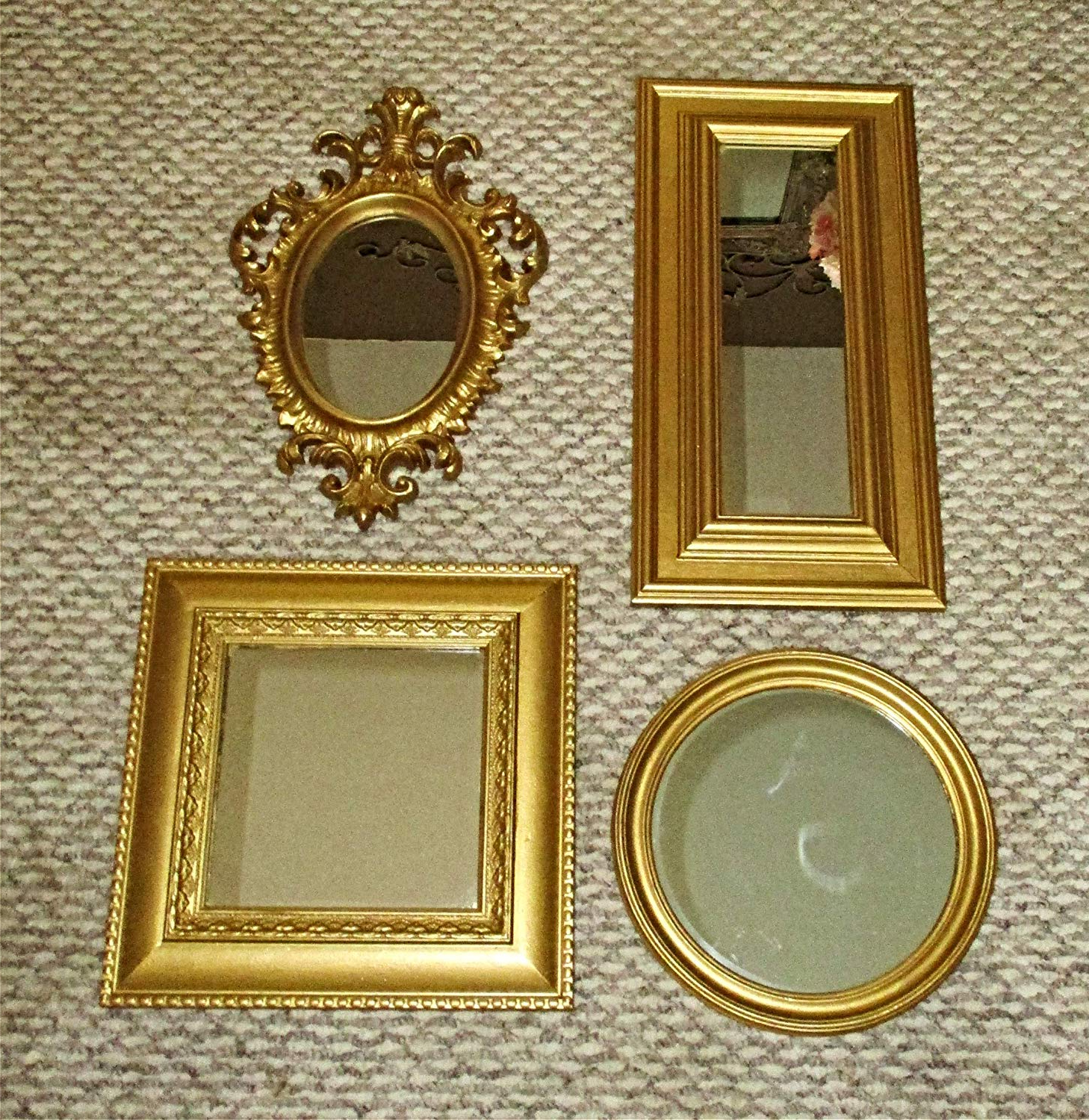 Most Current Hand Painted Wall Mirrors Intended For Amazon: Four Up Cycled Vintage Wall Mirrors In Classic Gold (View 17 of 20)