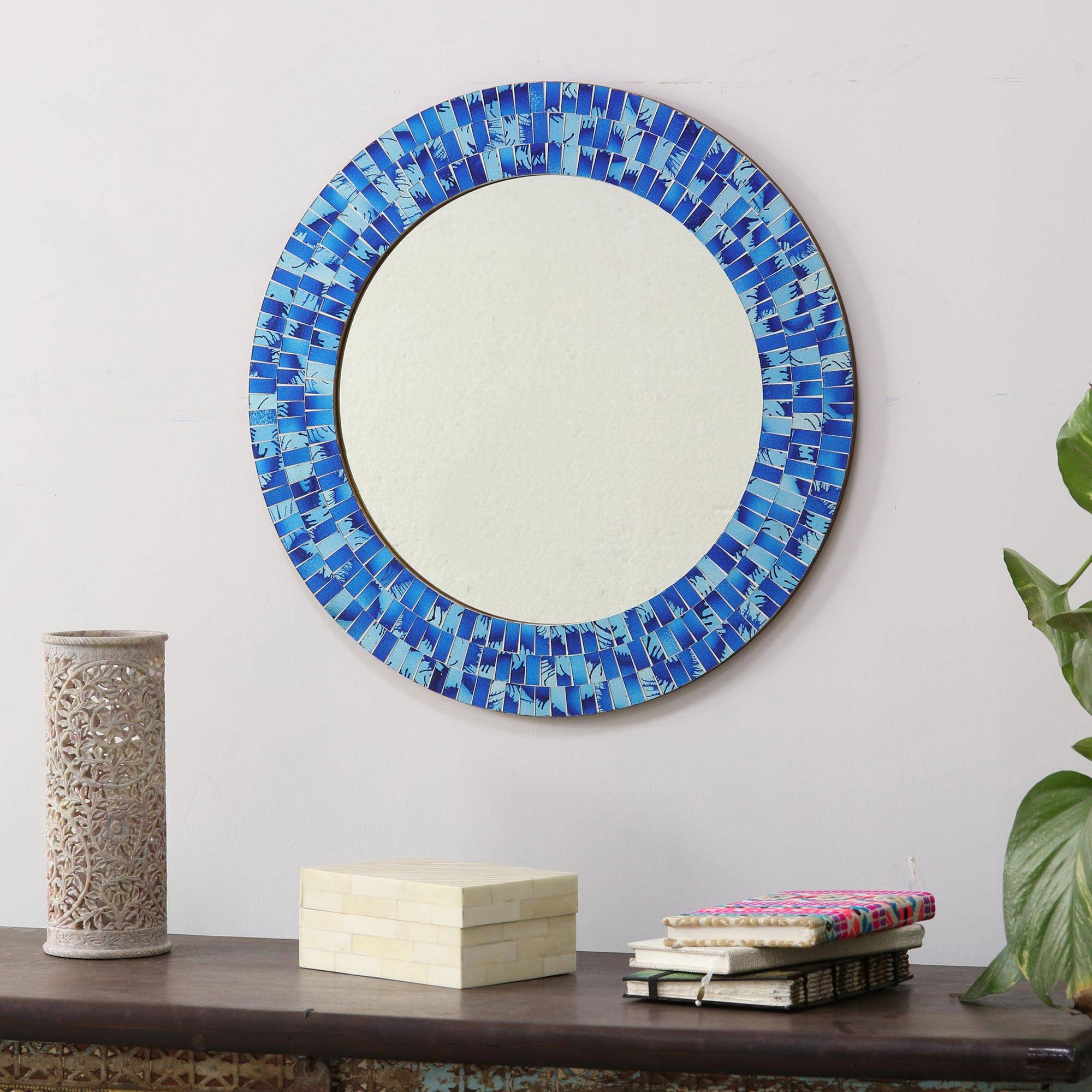 Most Current Handcrafted Glass Tile Round Wall Mirror, 'tropical Fusion' Throughout Tropical Wall Mirrors (View 20 of 20)