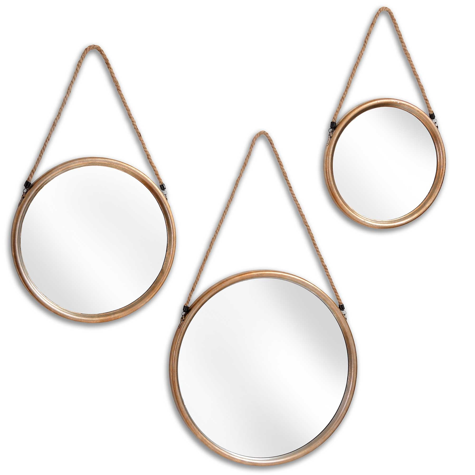Most Current Hanging Wall Mirrors With Regard To Set Of 3 Hanging Round Gold Wall Mirrors (View 8 of 20)