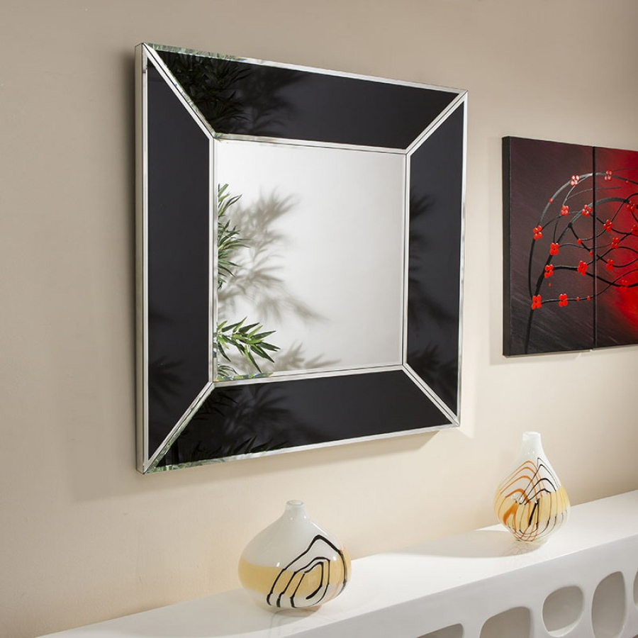 Most Current High End Wall Mirrors In Beautiful High End Square Wall Mirror With Black Boarder 100cm X 100cm (View 3 of 20)
