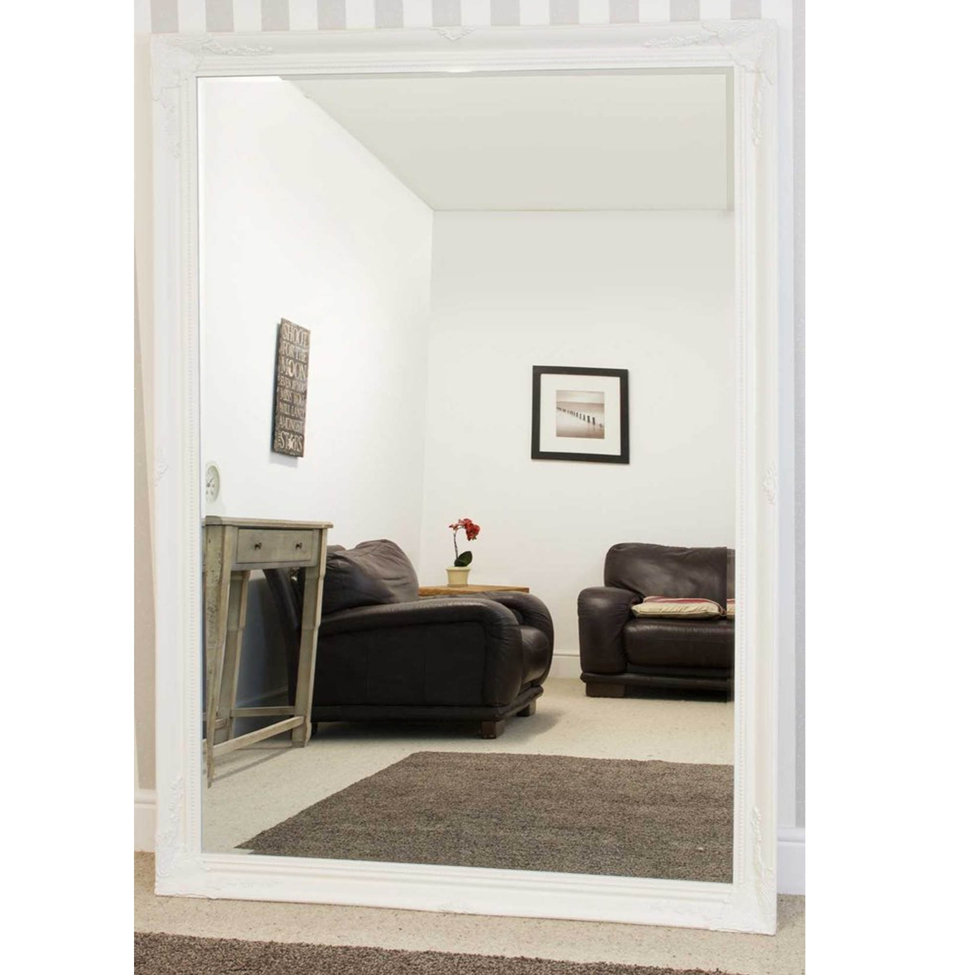 Most Current Large White Decorative Antique French Style Wall Mirror With Regard To Large White Wall Mirrors (View 3 of 20)