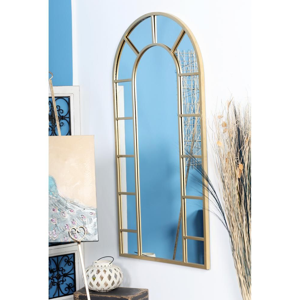Most Current Litton Lane Arched Gold Decorative Wall Mirror With 14 Pane Regarding Phineas Wall Mirrors (View 6 of 20)