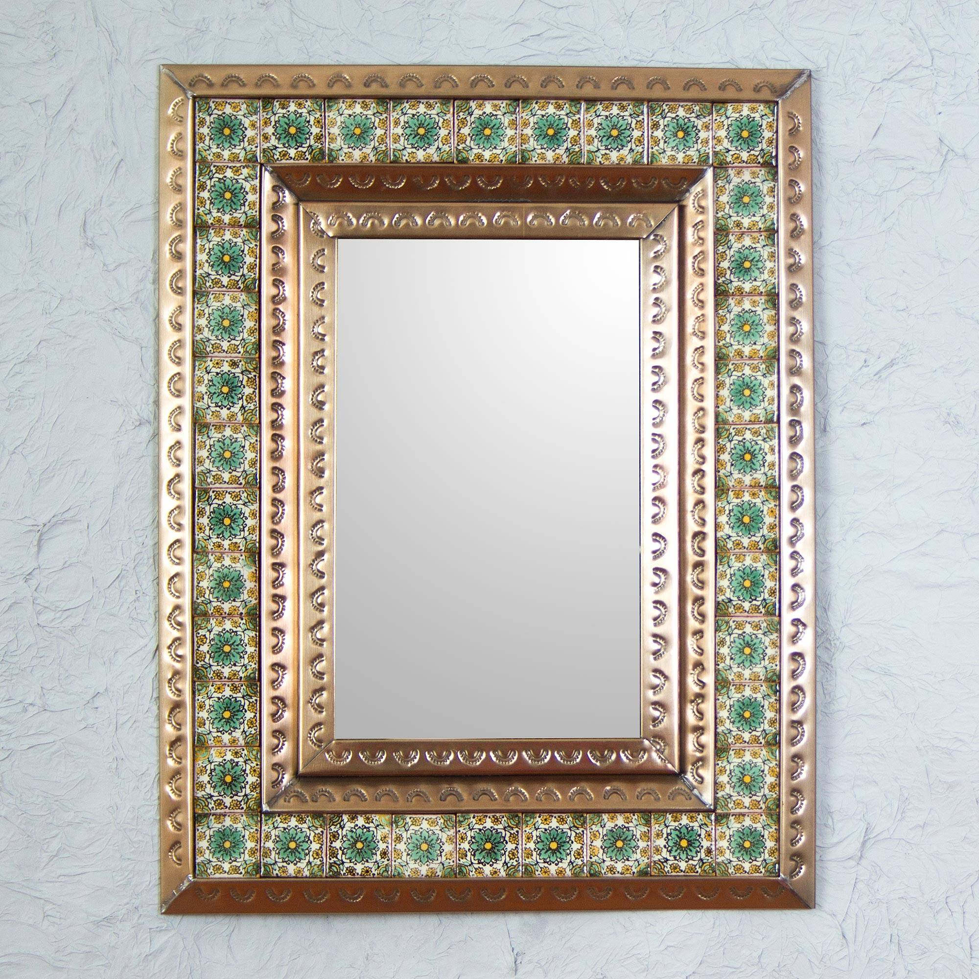 Most Current Mexican Wall Mirrors With Tin Wall Mirror With Green Mexican Floral Ceramic Tiles, 'emerald Seville' (View 5 of 20)
