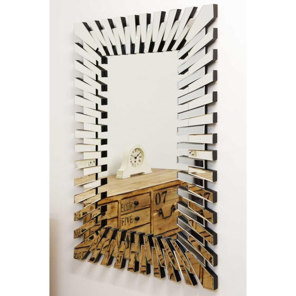 Most Current Modern Unique 3d Sunburst All Glass Venetian Rectangular Wall Mirror Regarding Modern Rectangular Wall Mirrors (View 6 of 20)