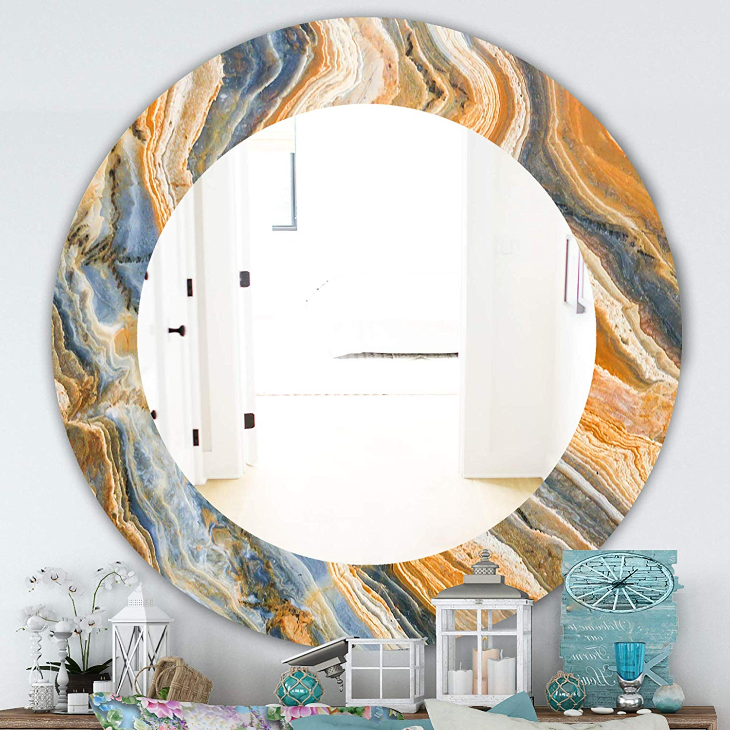 Most Current Orange Framed Wall Mirrors Within Amazon: Designart 'marbled Geode 4' Traditional Wall Mirror (View 8 of 20)