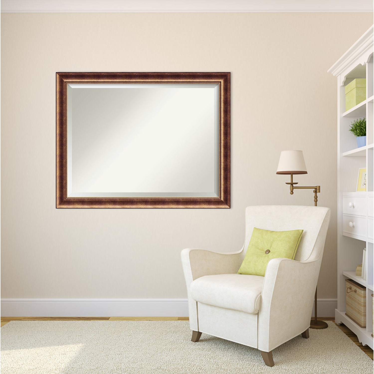 Most Current Oversize Wall Mirrors Within Wall Mirror Oversize Large, Manhattan Bronze 46 X 36 Inch – Red – 35.38 X 45.38 X (View 6 of 20)