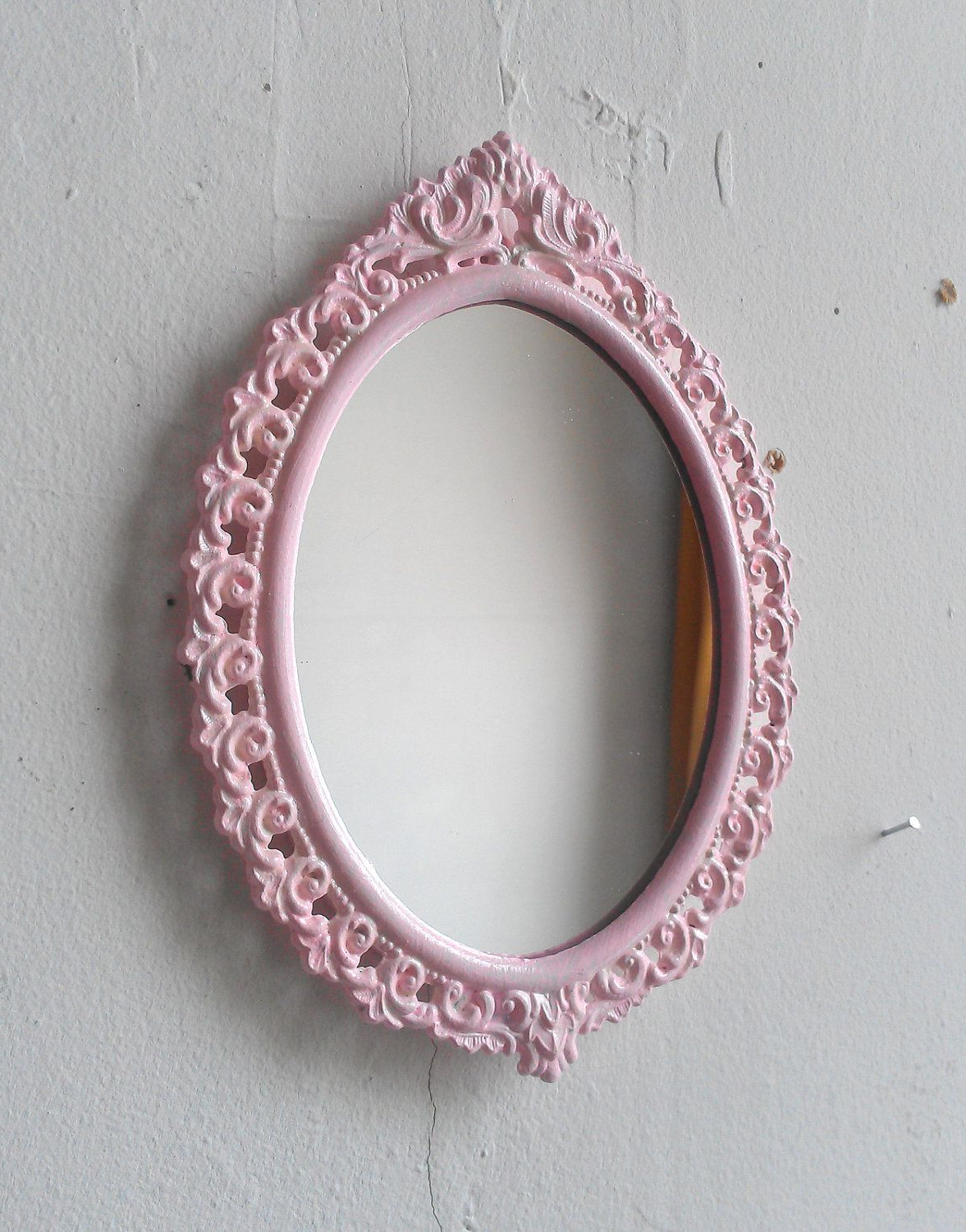 Most Current Pink Wall Mirror In Small Vintage Brass Oval Frame. $ (View 15 of 20)