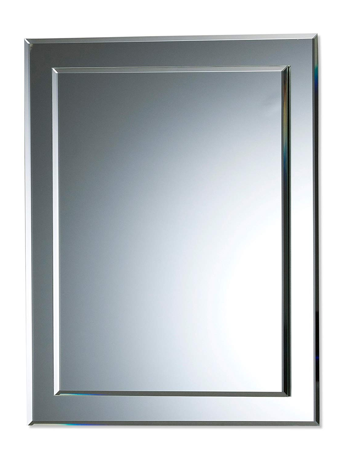 Most Current Plain Wall Mirrors Regarding Neue Design Bathroom Mirror Double Layer Rectangular Wall Plain – Beautiful Quality Mirror For Your Bathroom Or Other Rooms In Your Home 50Cm X 40Cm (View 13 of 20)
