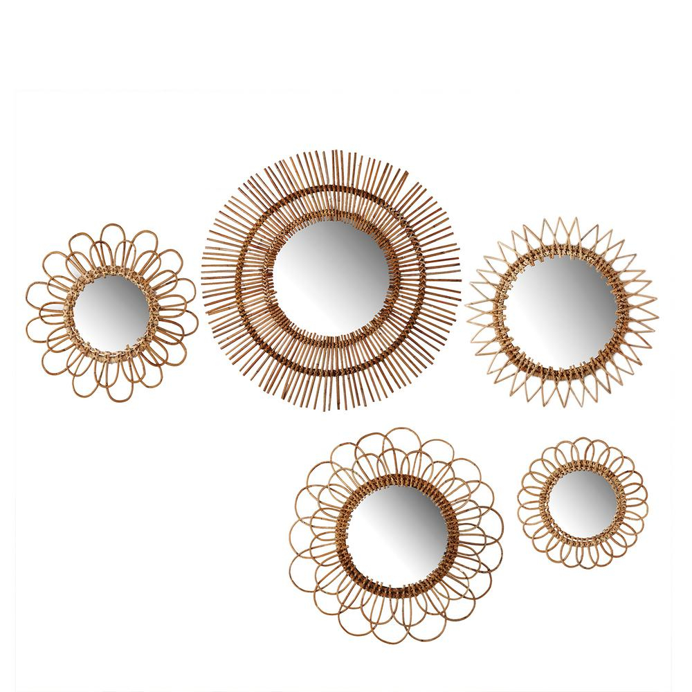 Most Current Rattan Wall Mirrors With Natural Round Rattan Decorative Wall Mirror Set (set Of 5) (View 13 of 20)