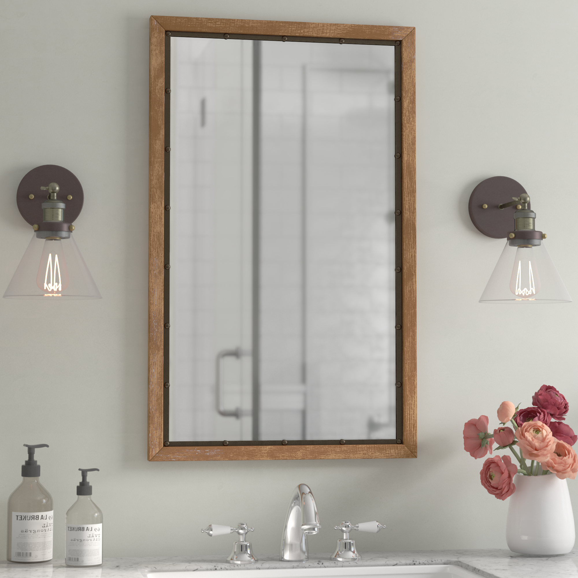 Most Current Rectangle Antique Galvanized Metal Accent Mirrors With Farmhouse & Rustic Mirrors (View 12 of 20)