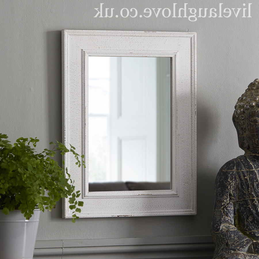 Most Current Rectangle Wooden Wall Mirror – Antique White With White Frame Wall Mirrors (View 19 of 20)