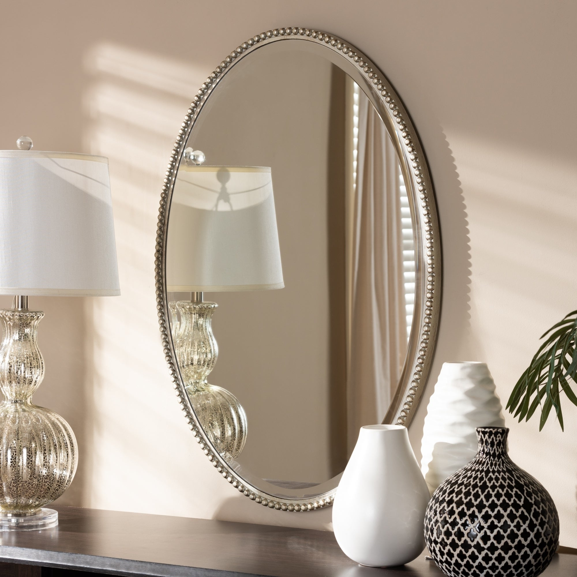 Most Current Silver Oval Wall Mirrors Throughout Contemporary Antique Silver Oval Wall Mirrorbaxton Studio – Antique  Silver (View 10 of 20)