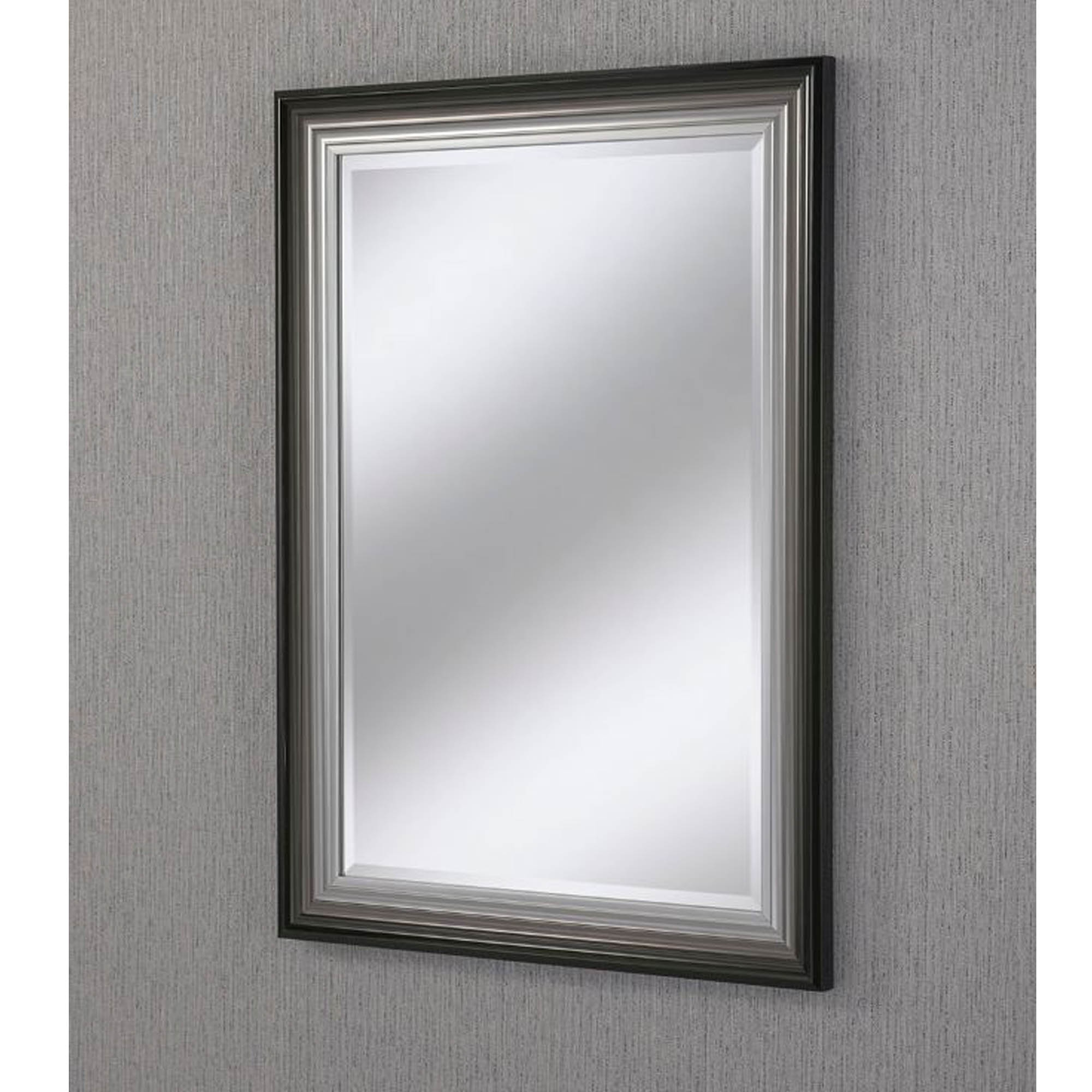 Most Current Silver Wall Mirrors Pertaining To Rectangular Black/silver Beveled Contemporary Wall Mirror (View 20 of 20)