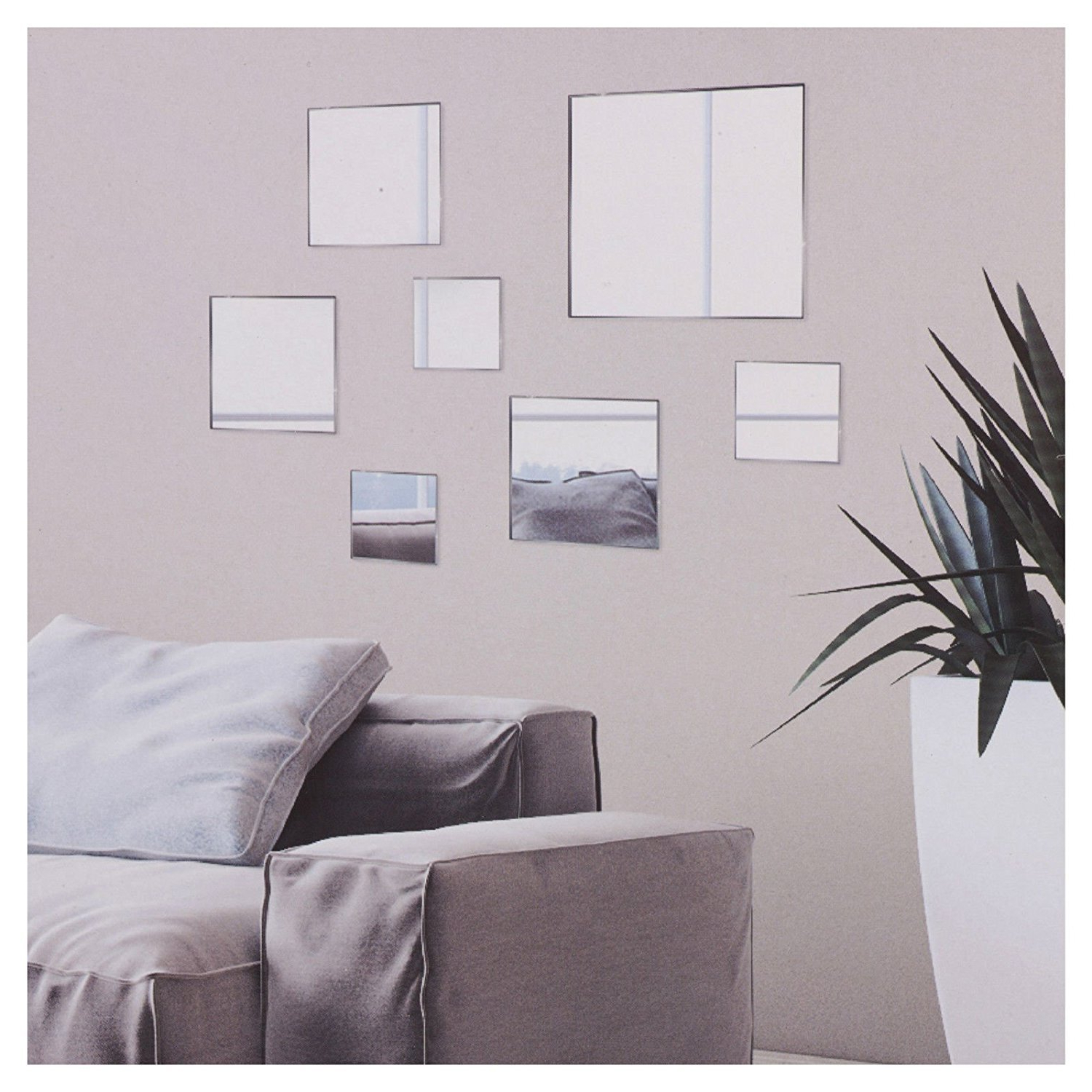 Most Current Stick On Wall Mirrors Intended For 7 Pc Diy Stick On Wall Mirror Glass Bathroom Bedroom Decorative (View 16 of 20)