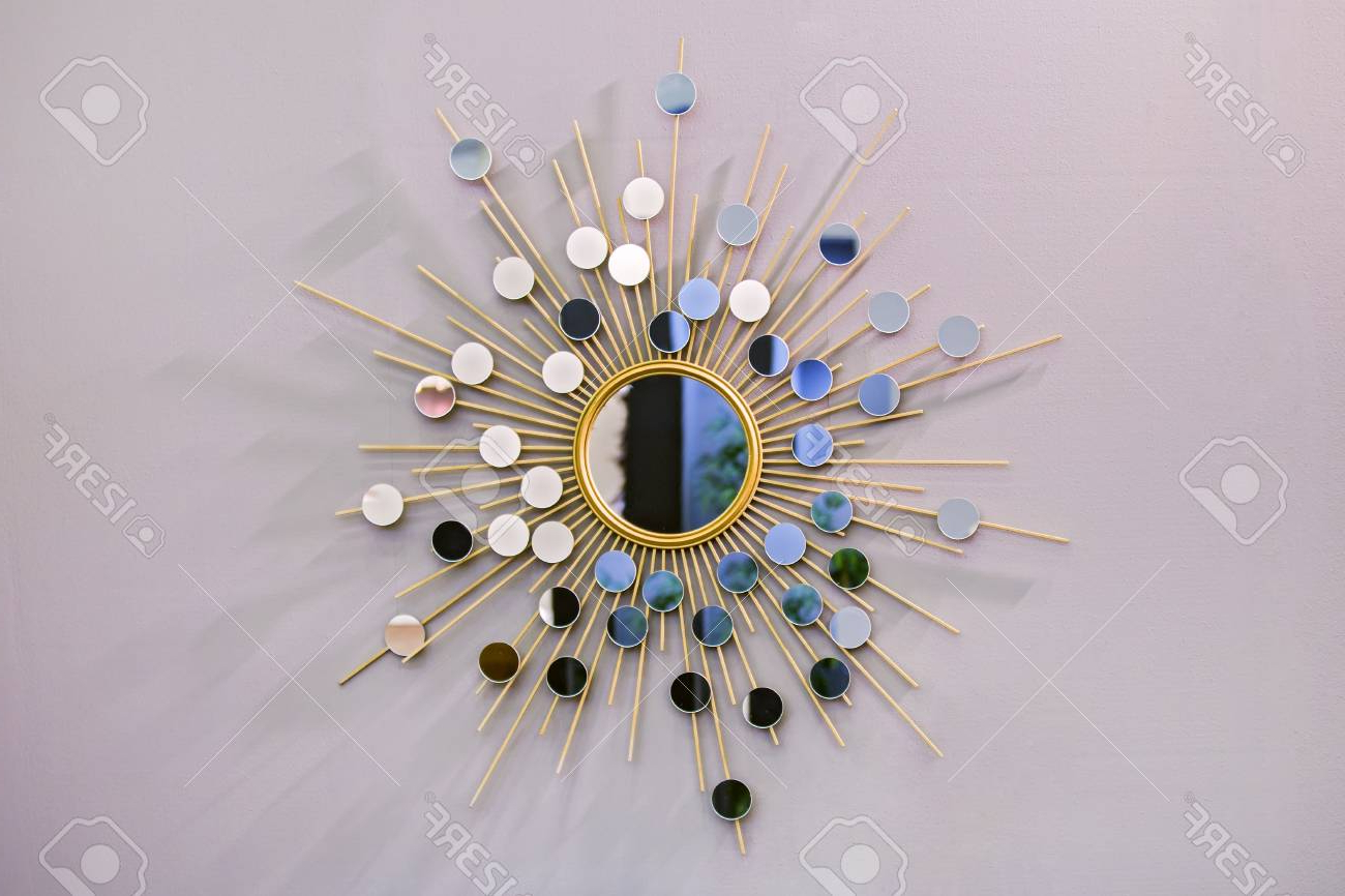 Most Current Sun Shaped Wall Mirrors Throughout Decorative Wall Round Mirror In The Shape Of The Sun, A Golden.. (Gallery 16 of 20)