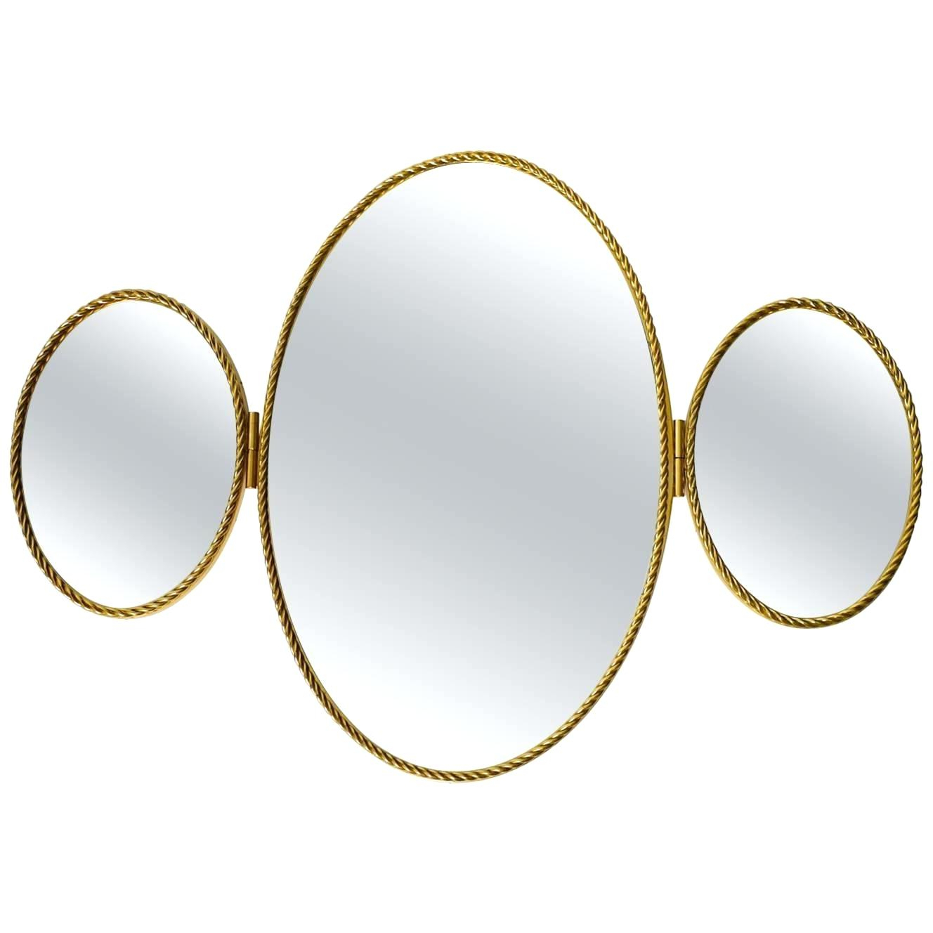 Most Current Triple Wall Mirror Original Mid Century Modern Modernist For Triple Oval Wall Mirrors (View 13 of 20)