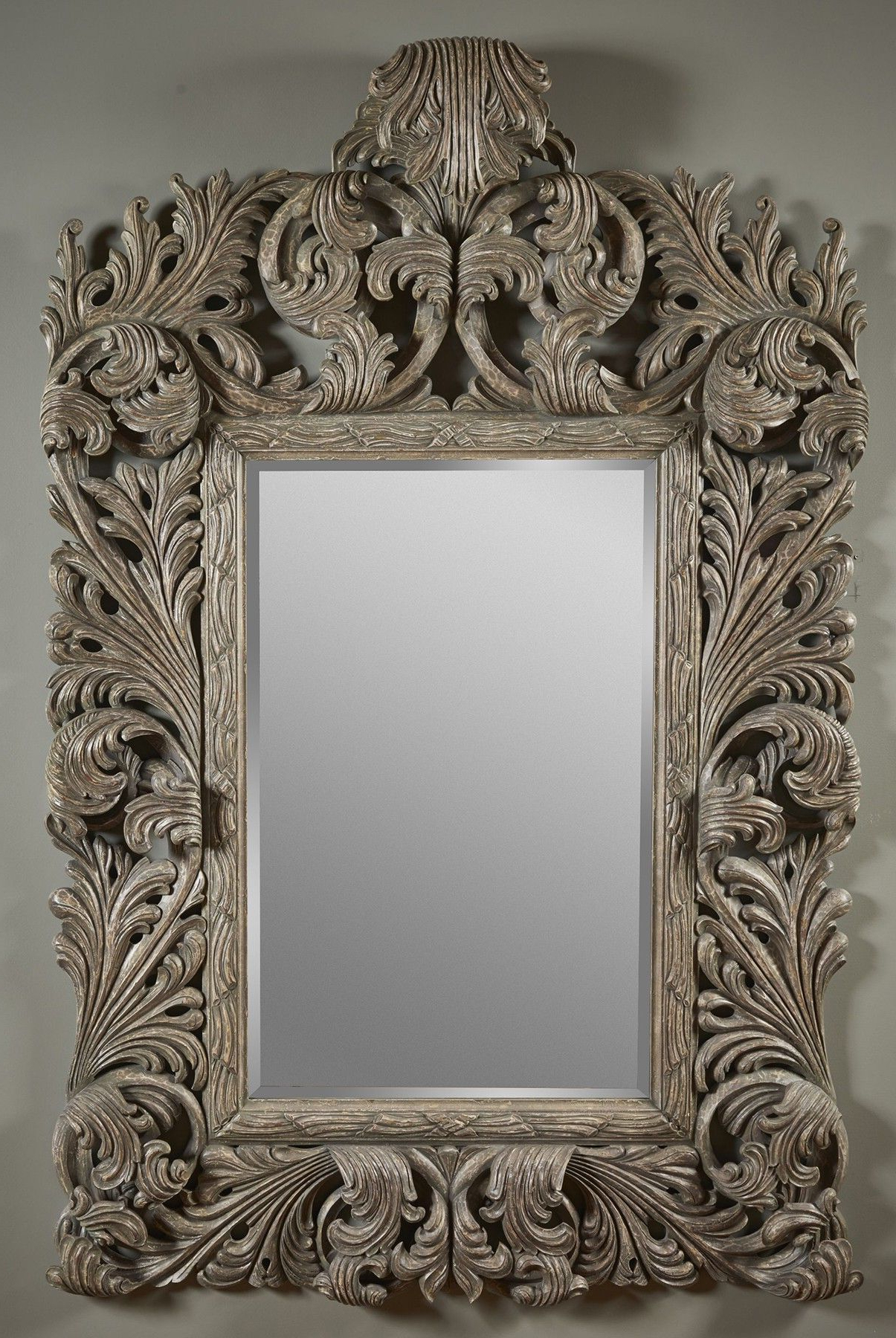 Most Current Tuscan Style Wall Mirrors With Hand Carved Silver Gilded Wall Mirror (View 6 of 20)