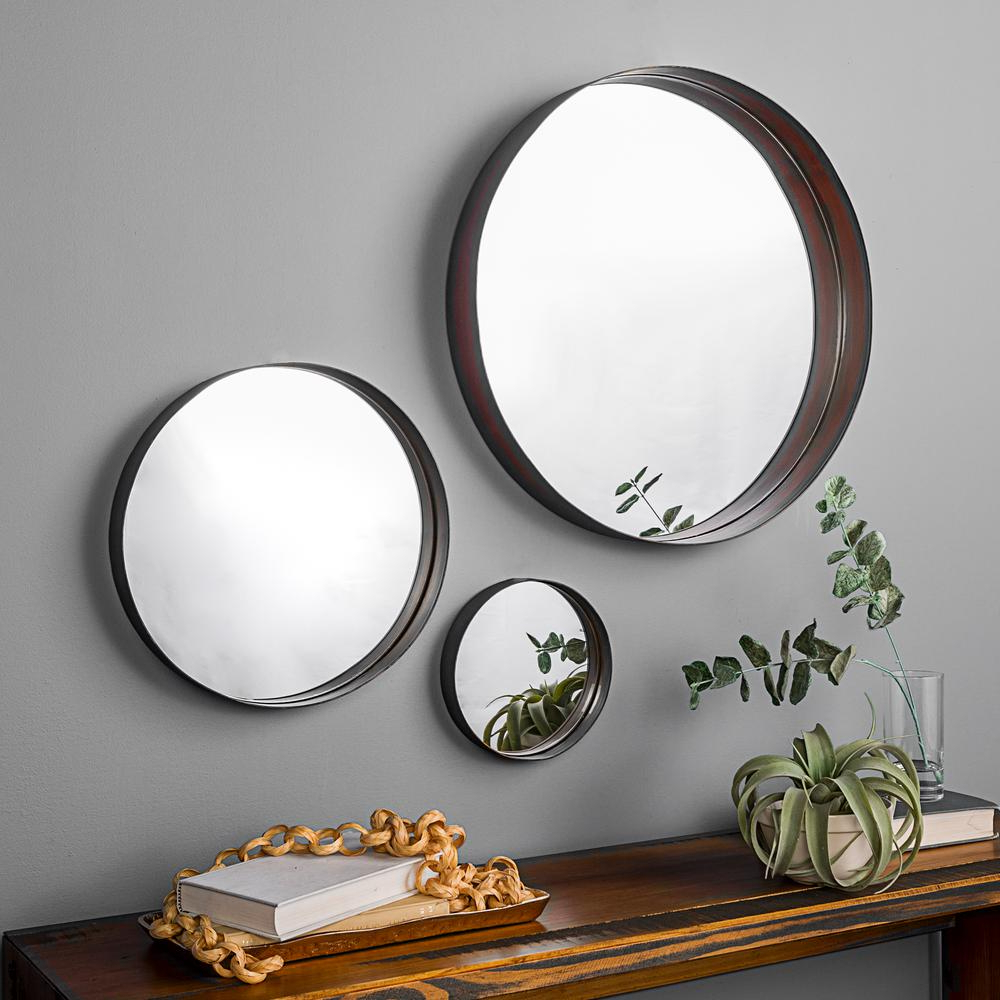 Most Current Walker Edison Furniture Company Modern Metal Wall Mirrors – Set Of 3 Pertaining To Round Wall Mirror Sets (View 7 of 20)