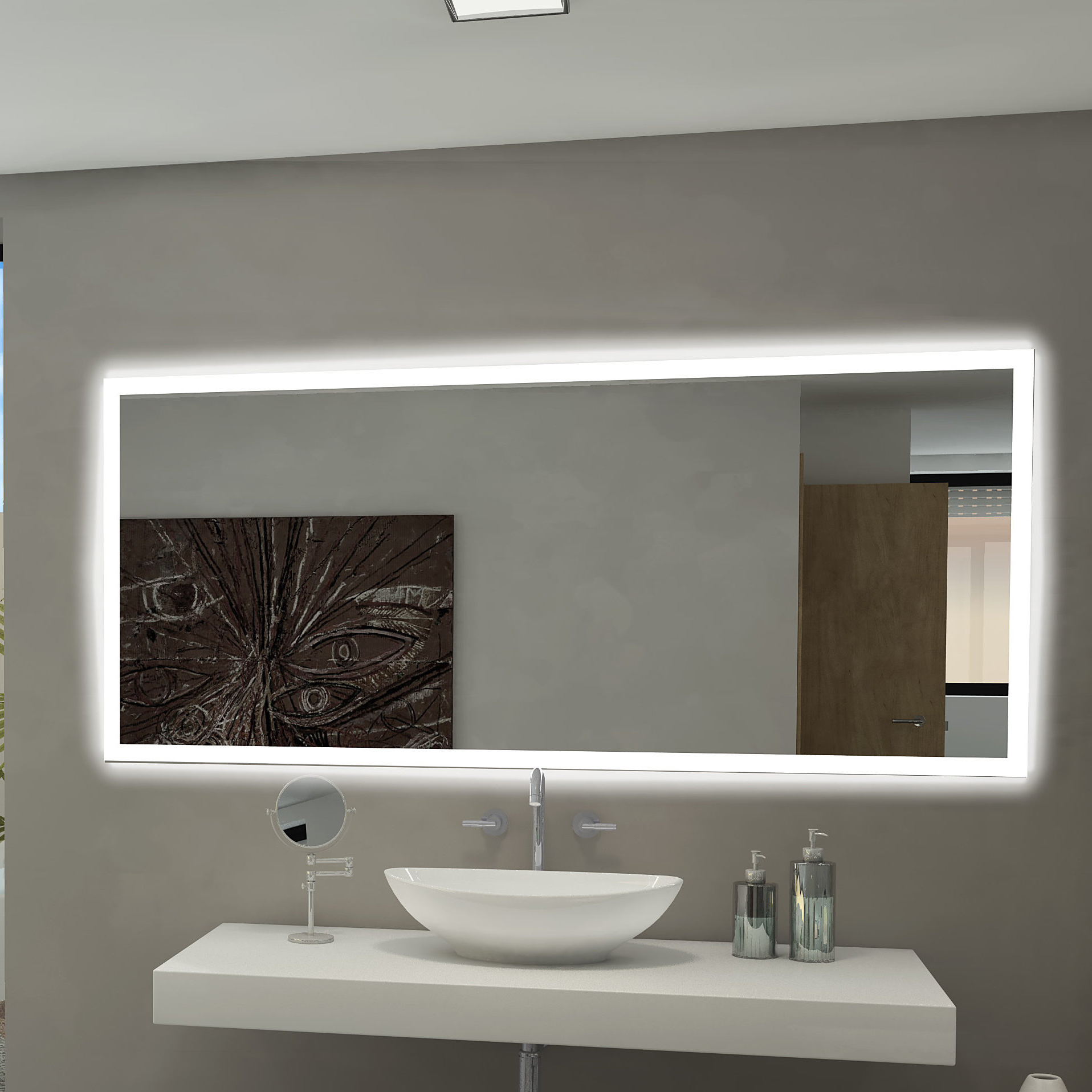 Most Current Wall Mirror For Bathroom With Rectangle Backlit Bathroom/vanity Wall Mirror (View 2 of 20)