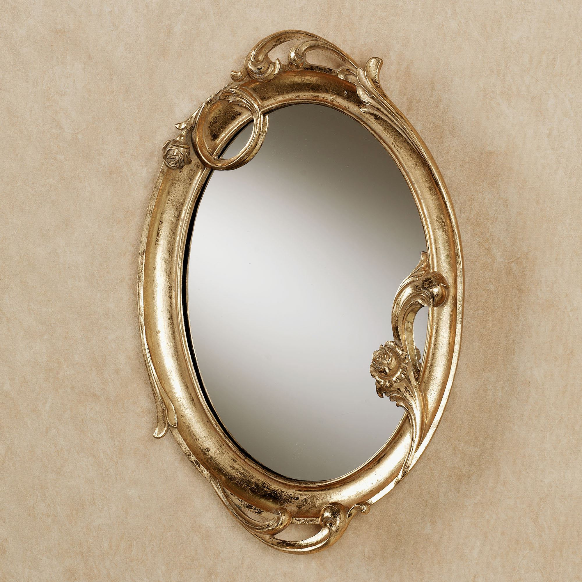 Most Current Wall Mirrors With Art Intended For Art Nouveau Gold Oval Wall Mirror (View 11 of 20)