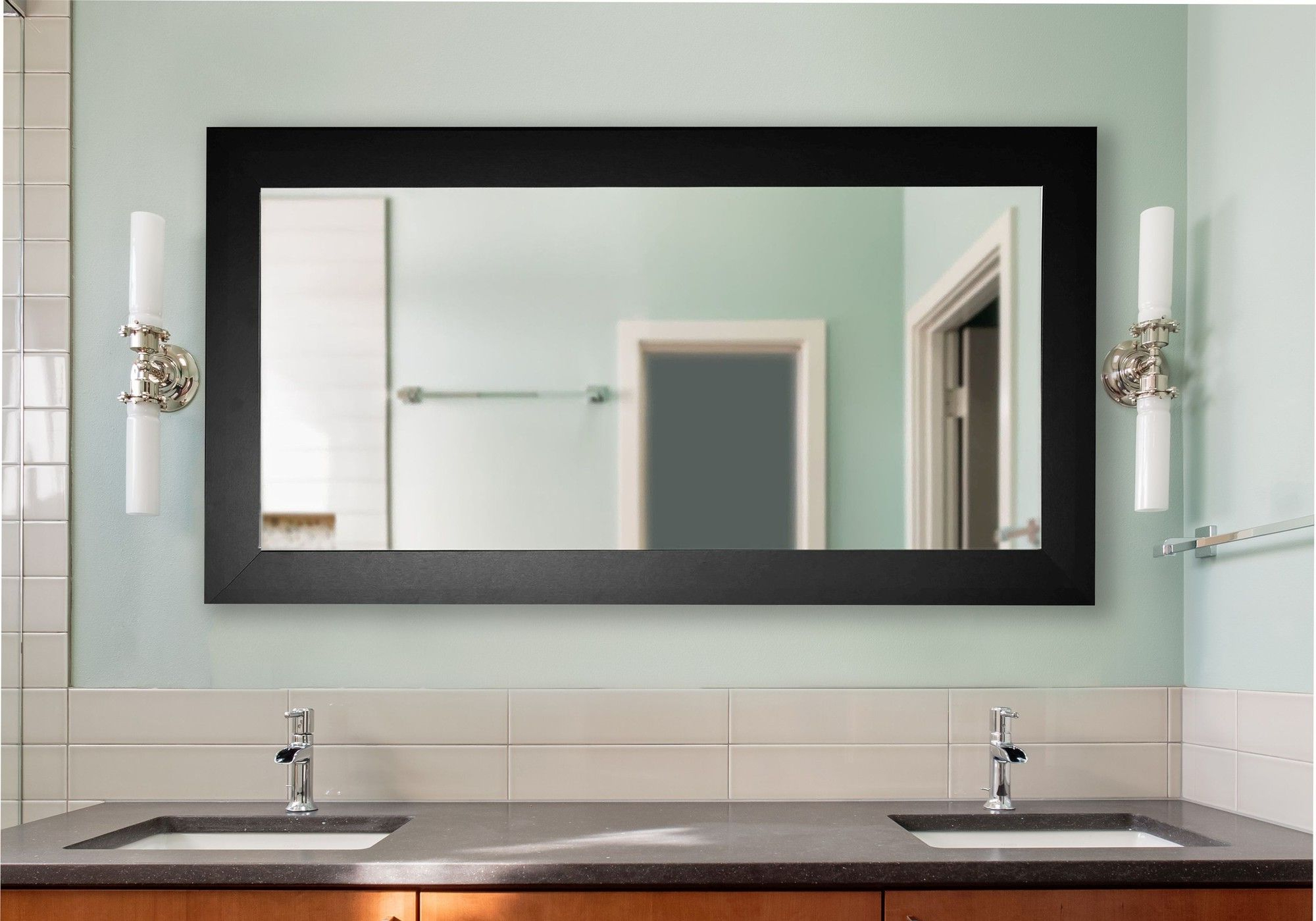 Most Current Wide Wall Mirrors Inside Double Wide Vanity Wall Mirror (View 14 of 20)