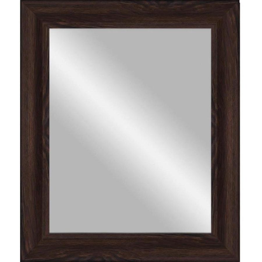 Most Popular 33 In L X 27 In W Dark Walnut Beveled Wall Mirror At Lowes Inside Walnut Wood Wall Mirrors (View 13 of 20)