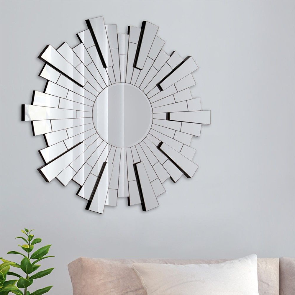 Most Popular 36 Beveled Starburst Accent Mirror Silver – Gallery Solutions With Hussain Tile Accent Wall Mirrors (View 7 of 20)