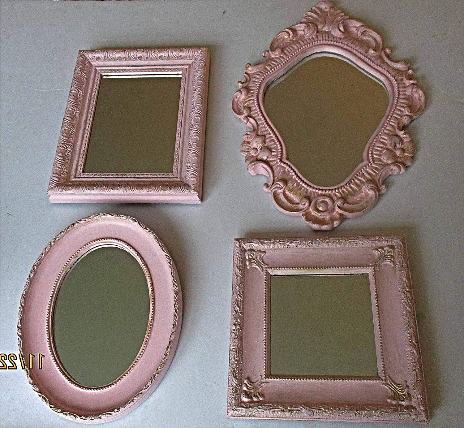 Most Popular Amazon: Wall Mirrors, Vintage, Distressed, Pink And Gold Pertaining To Girls Pink Wall Mirrors (View 8 of 20)