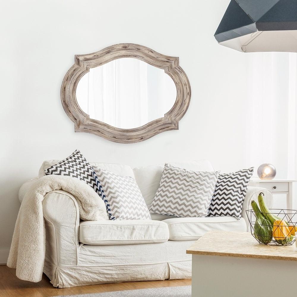Most Popular Aubrey Elongated Quatrefoil Wall Mirror – Taupe For Quatrefoil Wall Mirrors (View 12 of 20)