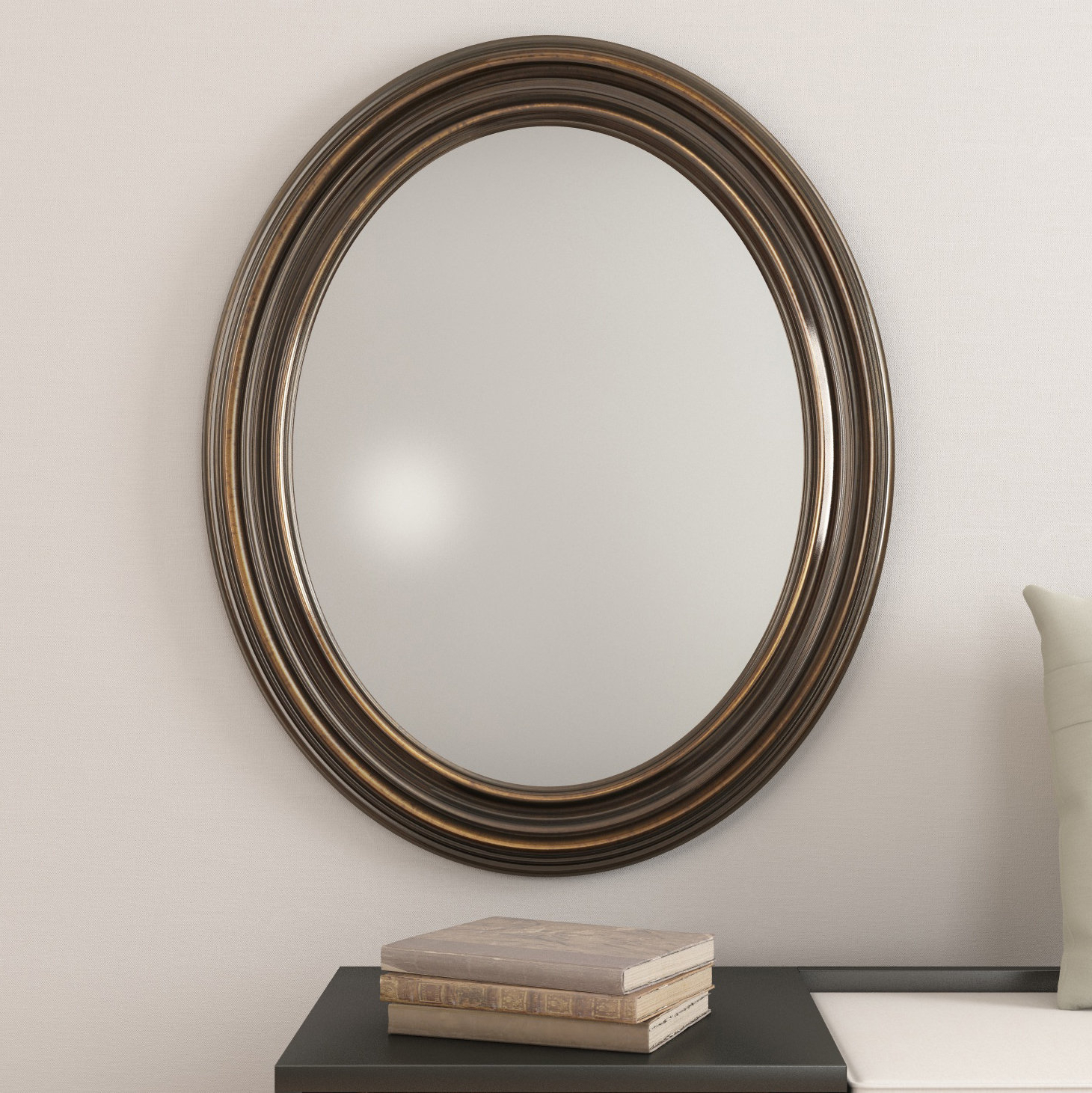 Most Popular Burnes Oval Traditional Wall Mirror Intended For Pfister Oval Wood Wall Mirrors (View 9 of 20)