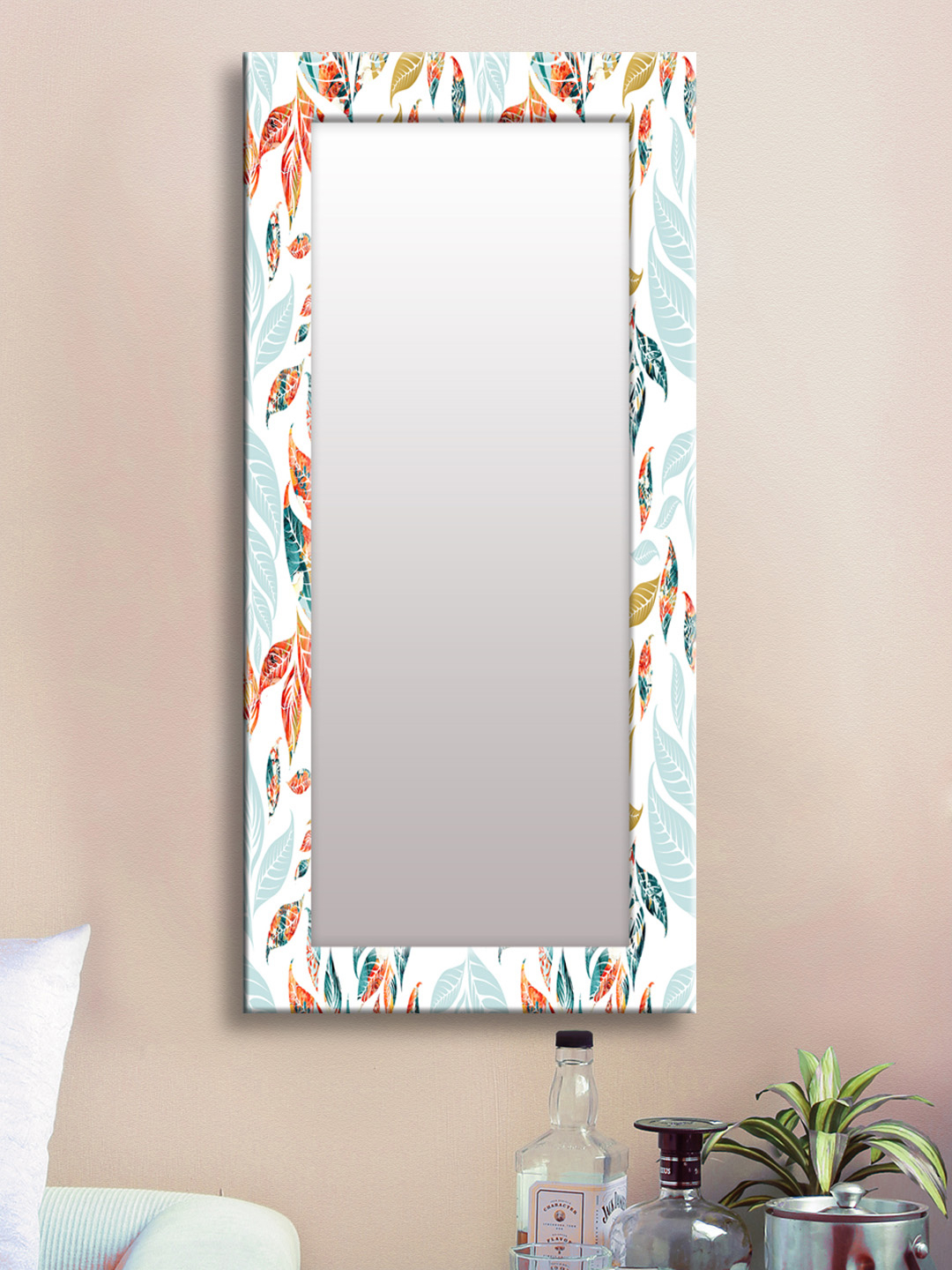 Most Popular Buy 999store White & Orange Framed Wall Mirror – Mirrors For Unisex Intended For Orange Framed Wall Mirrors (View 3 of 20)