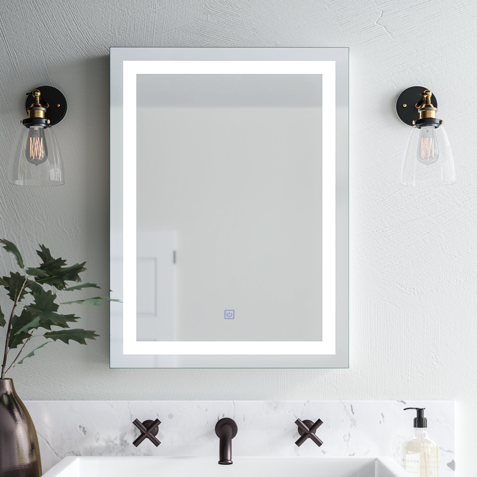 Most Popular Contemporary Bathroom Wall Mirrors With Regard To Butcher Illuminated Modern & Contemporary Bathroom Wall Mirror (View 4 of 20)
