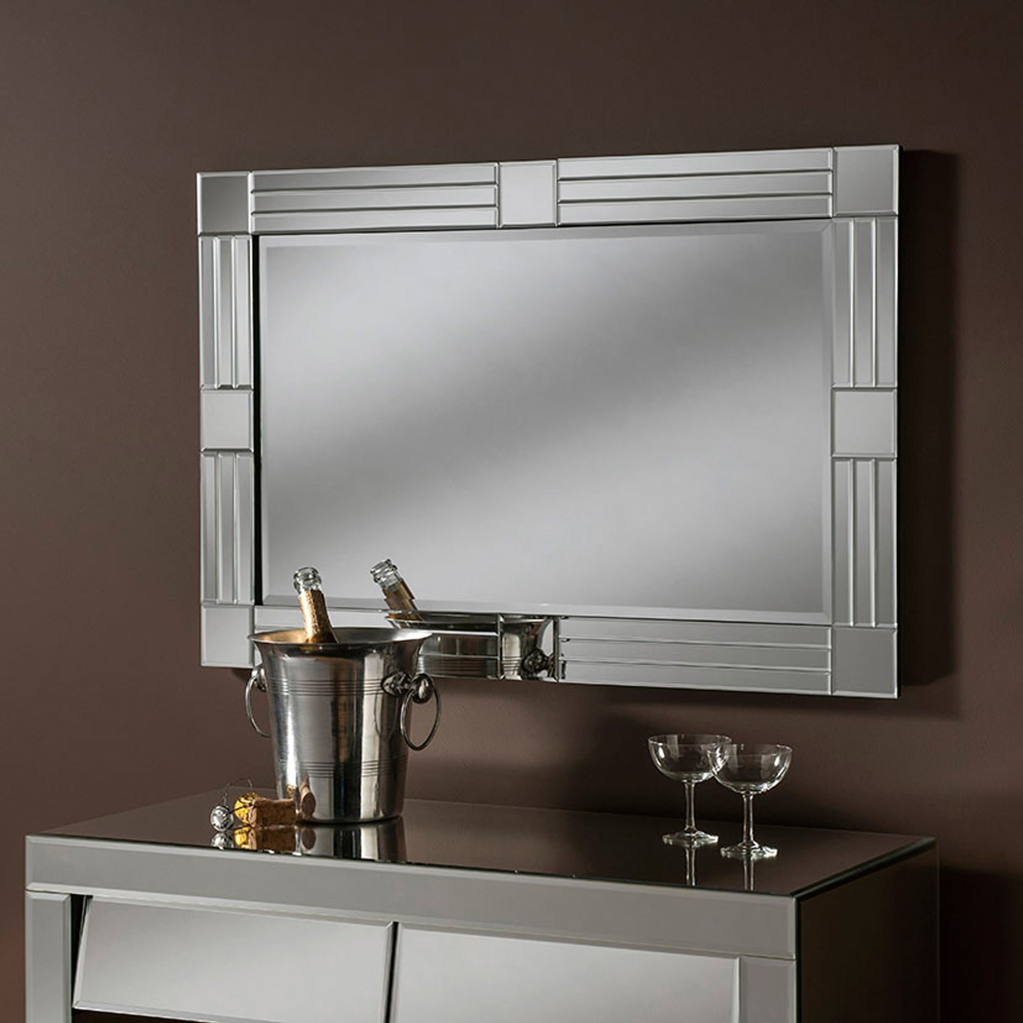 Most Popular Contemporary Bevelled Wall Mirror Inside Stunning Wall Mirrors (View 9 of 20)