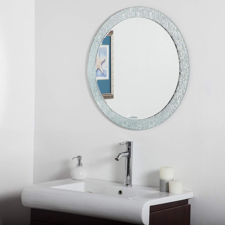 Most Popular Decor Wonderland Molten Round Bathroom Mirror In Frameless Molten Wall Mirrors (View 5 of 20)