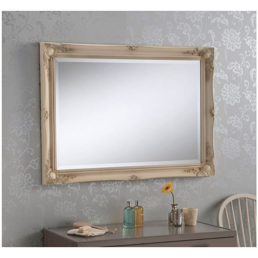 Most Popular Decorative Ornate Antique French Style Ivory Wall Mirror In Ivory Wall Mirrors (View 14 of 20)