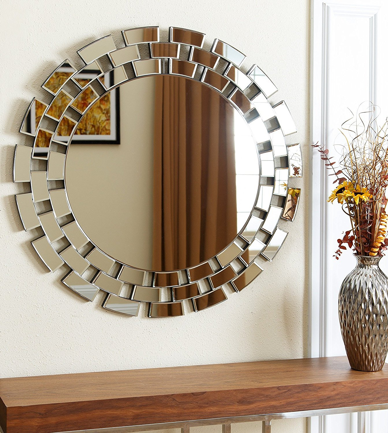 Most Popular Decorative Round Wall Mirrors In Exciting Large Round Wall Mirror With Fancy Design Bathroom Curved (Gallery 15 of 20)