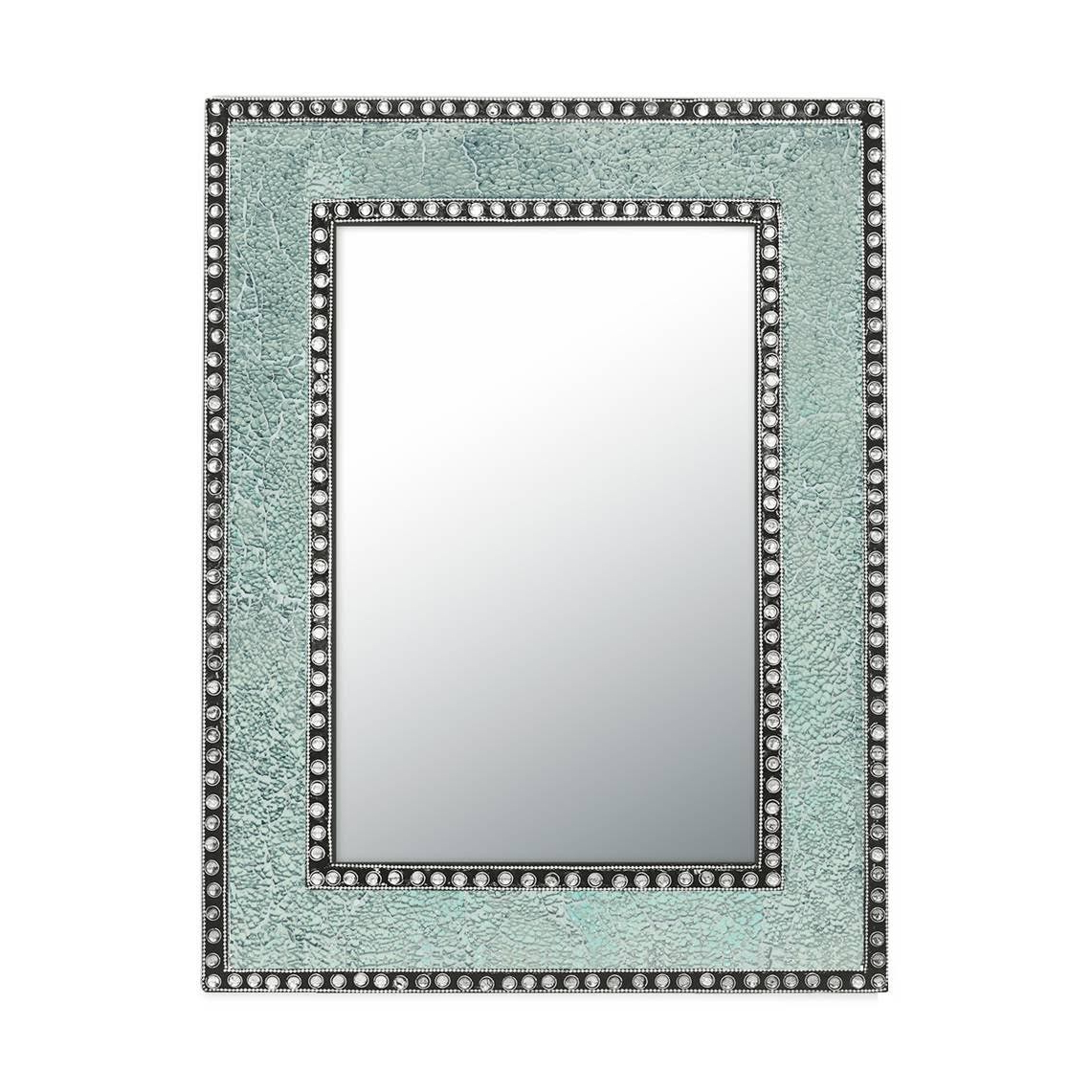 """Most Popular Decorshore 24"""" X 18"""" Crackled Glass Framed Rectangular Decorative Mosaic  Wall Mirror, Accent Mirror Mint Green Inside Mosaic Framed Wall Mirrors (View 13 of 20)"""
