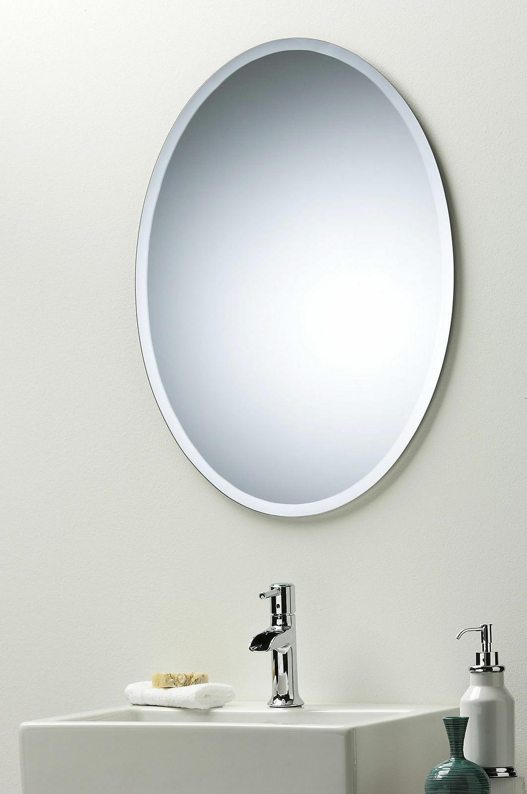 Most Popular Details About Bathroom Wall Mirror Modern Stylish Oval With Bevel Frameless  Plain 2Ae With Regard To Frameless Bathroom Wall Mirrors (View 14 of 20)