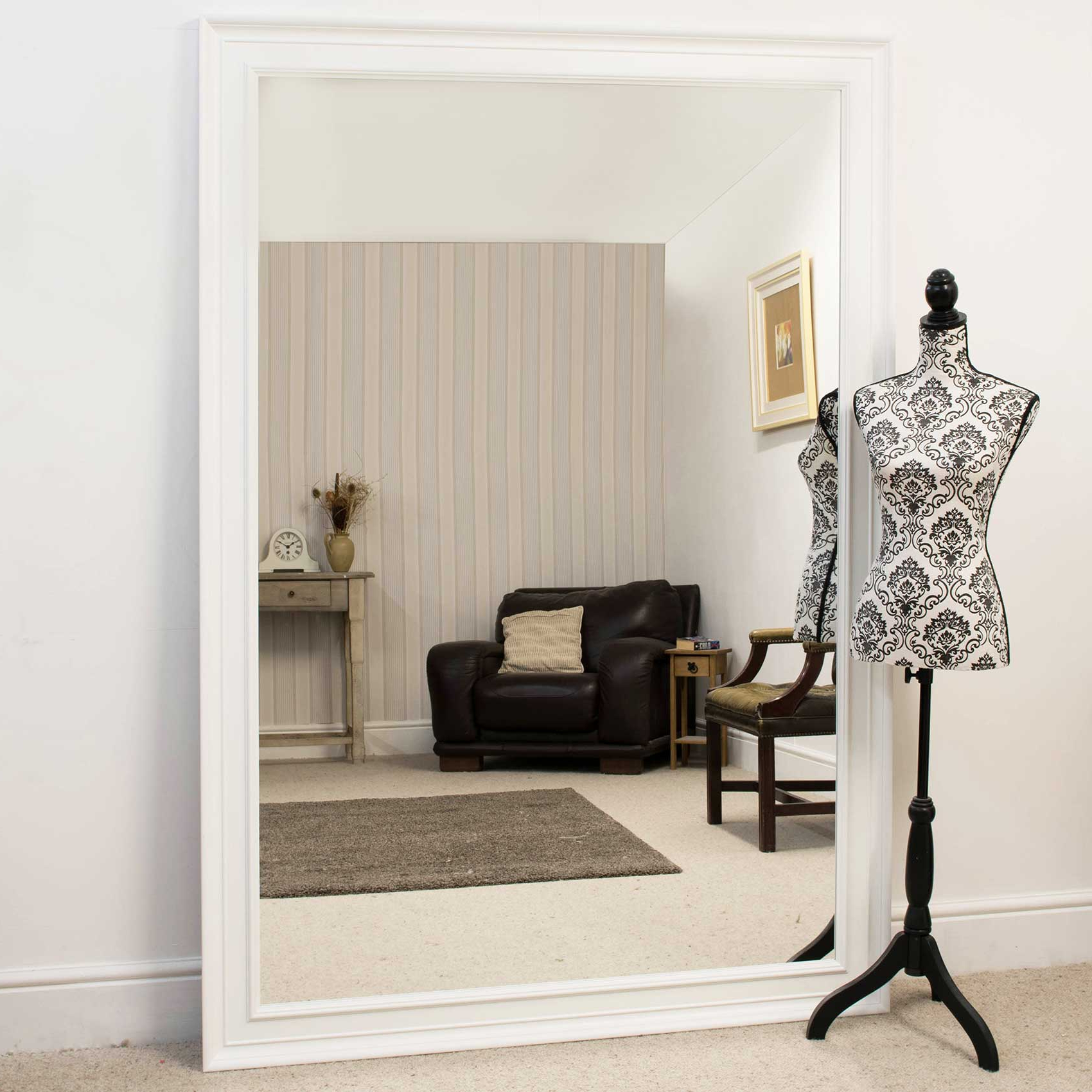 Most Popular Details About Large Wall Mirror Extra White Contemporary Leaner 6ft 9 X 4ft  9 206cm X 145cm Pertaining To Big Wall Mirrors (View 13 of 20)
