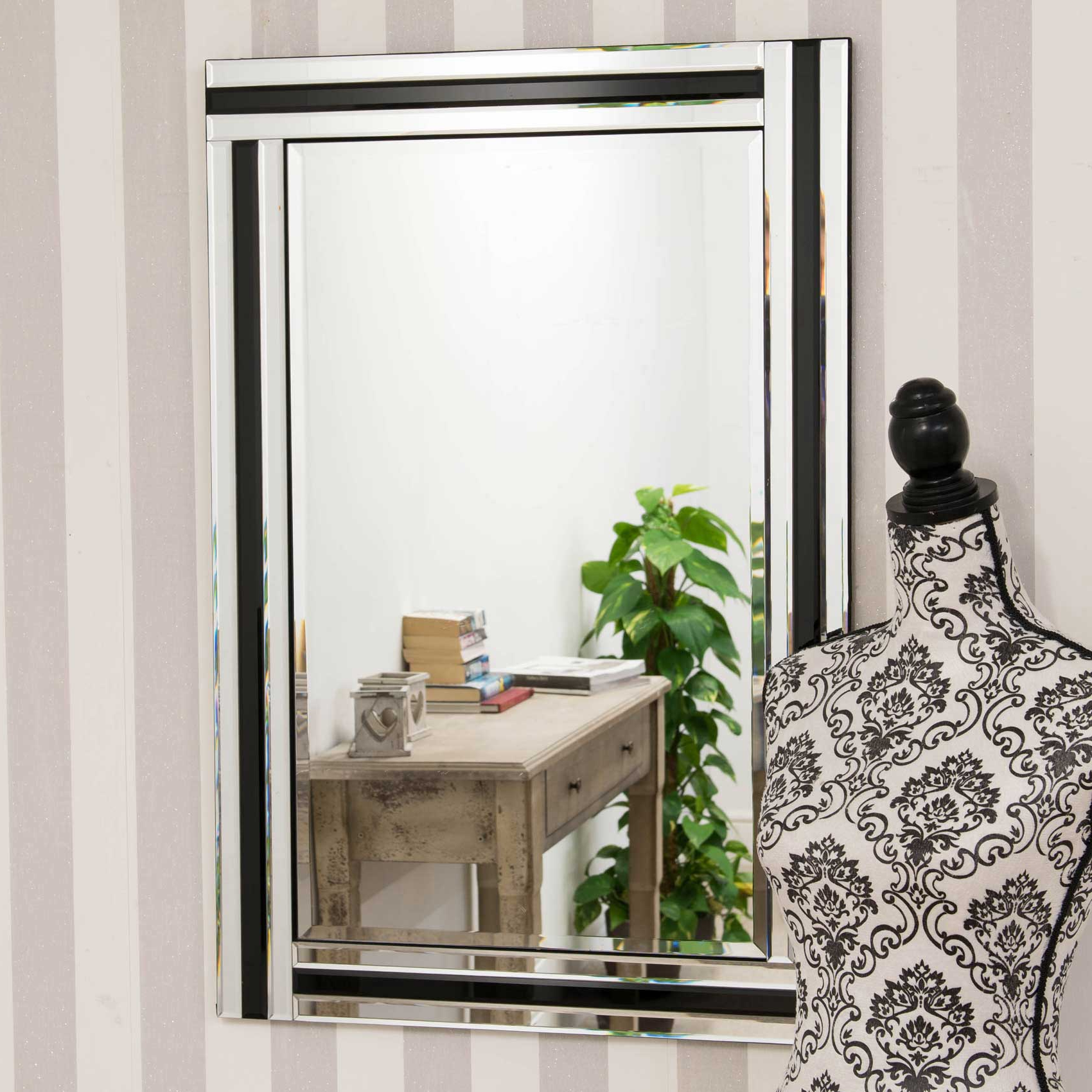 Most Popular Details About Large Wall Mirror Stylish Black And Silver Triple Bevelled Edge 1ft11 X 2ft11 In Extra Large Bevelled Edge Wall Mirrors (View 8 of 20)