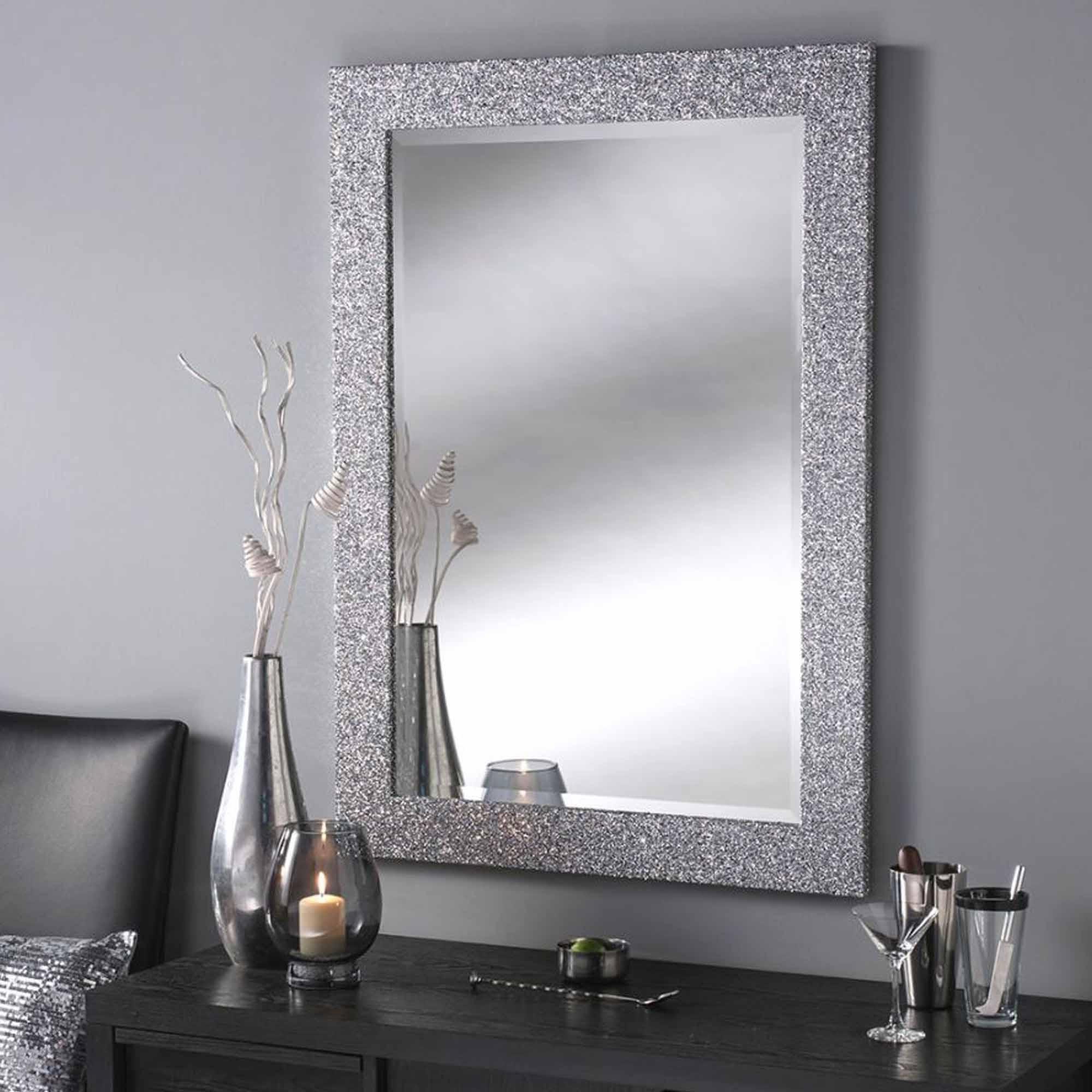 Most Popular Glitter Wall Mirrors Regarding Silver Glitter Rectangular Wall Mirror (View 3 of 20)