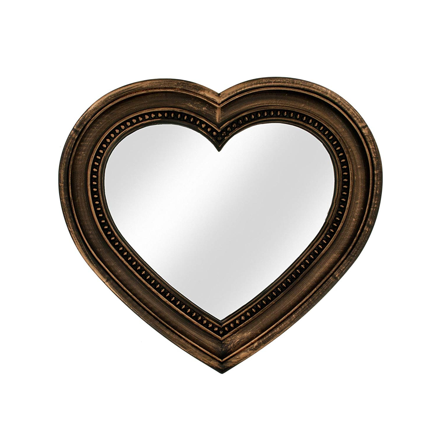 Most Popular Heart Shaped Wall Mirrors Inside Amazon: 123 Wholesale – Set Of 6 Antique Bronze Heart Shaped (View 16 of 20)